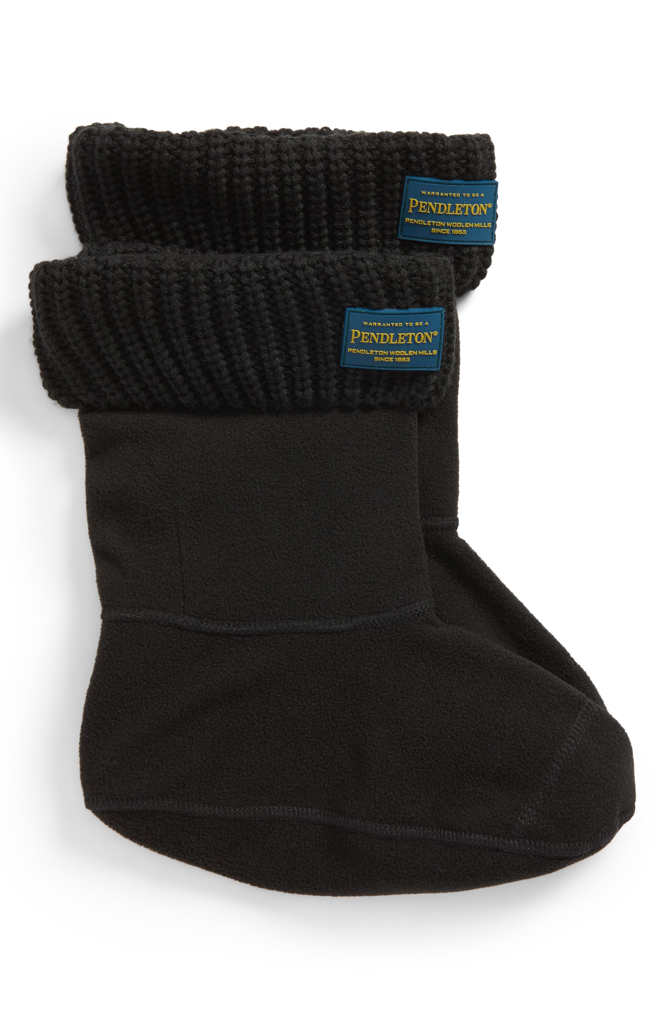 Pendleton Shaker Stitch Short Boot Liner,                             Main thumbnail 1, color,                             BLACK