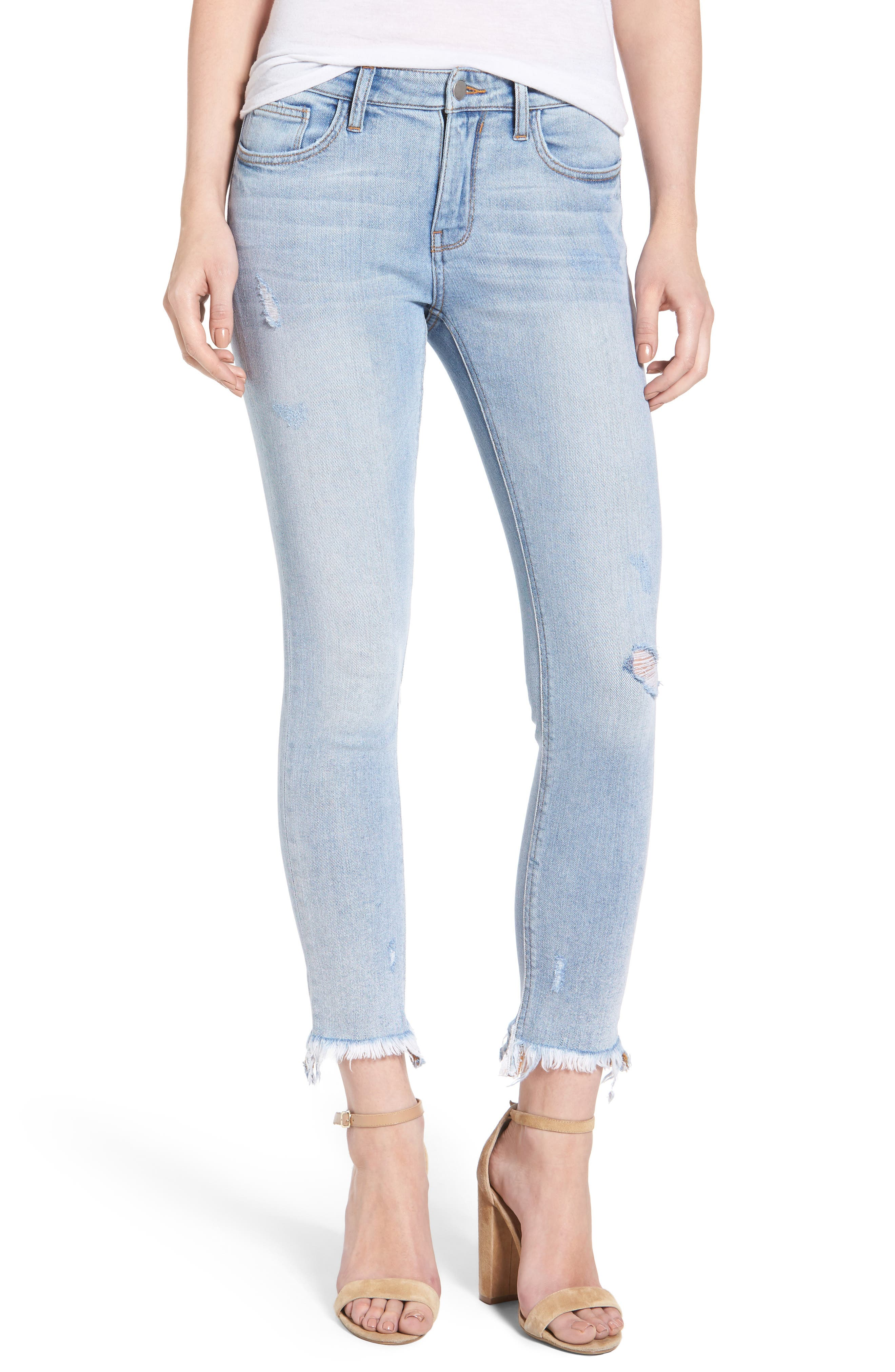 Frayed Hem Ankle Skinny Jeans,                             Main thumbnail 1, color,                             410
