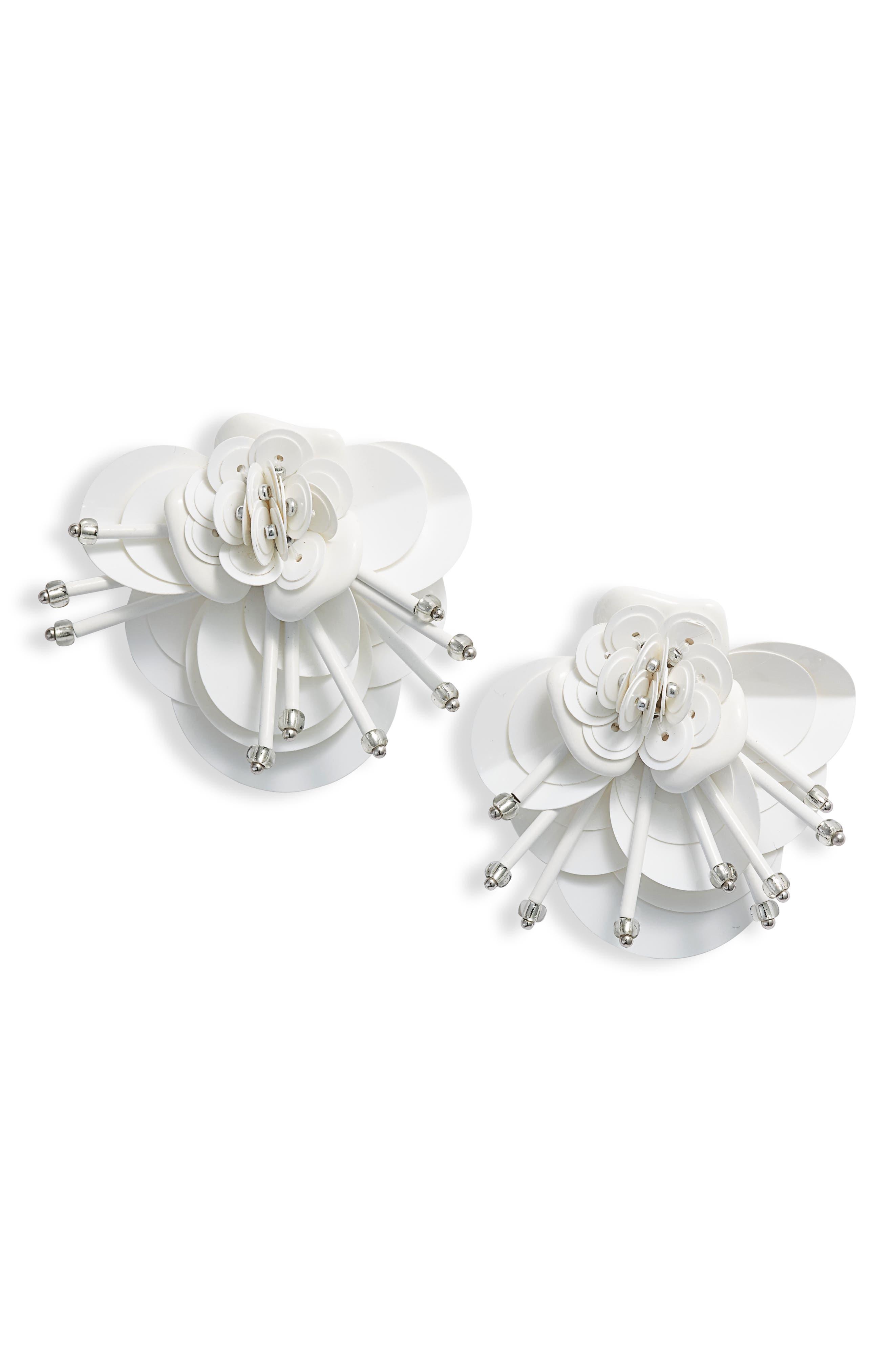vibrant life floral earrings,                             Main thumbnail 1, color,                             WHITE MULTI