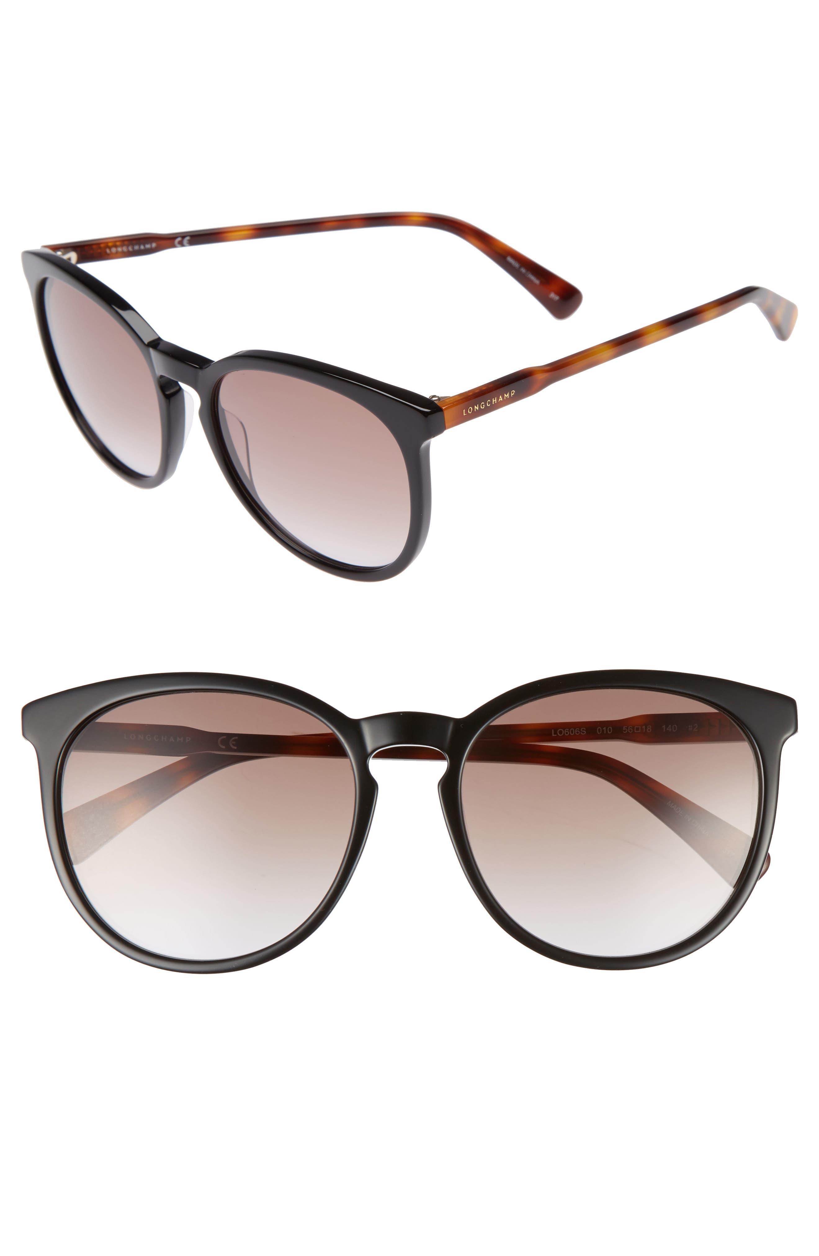 56mm Round Sunglasses,                         Main,                         color, BLACK/ HAVANA