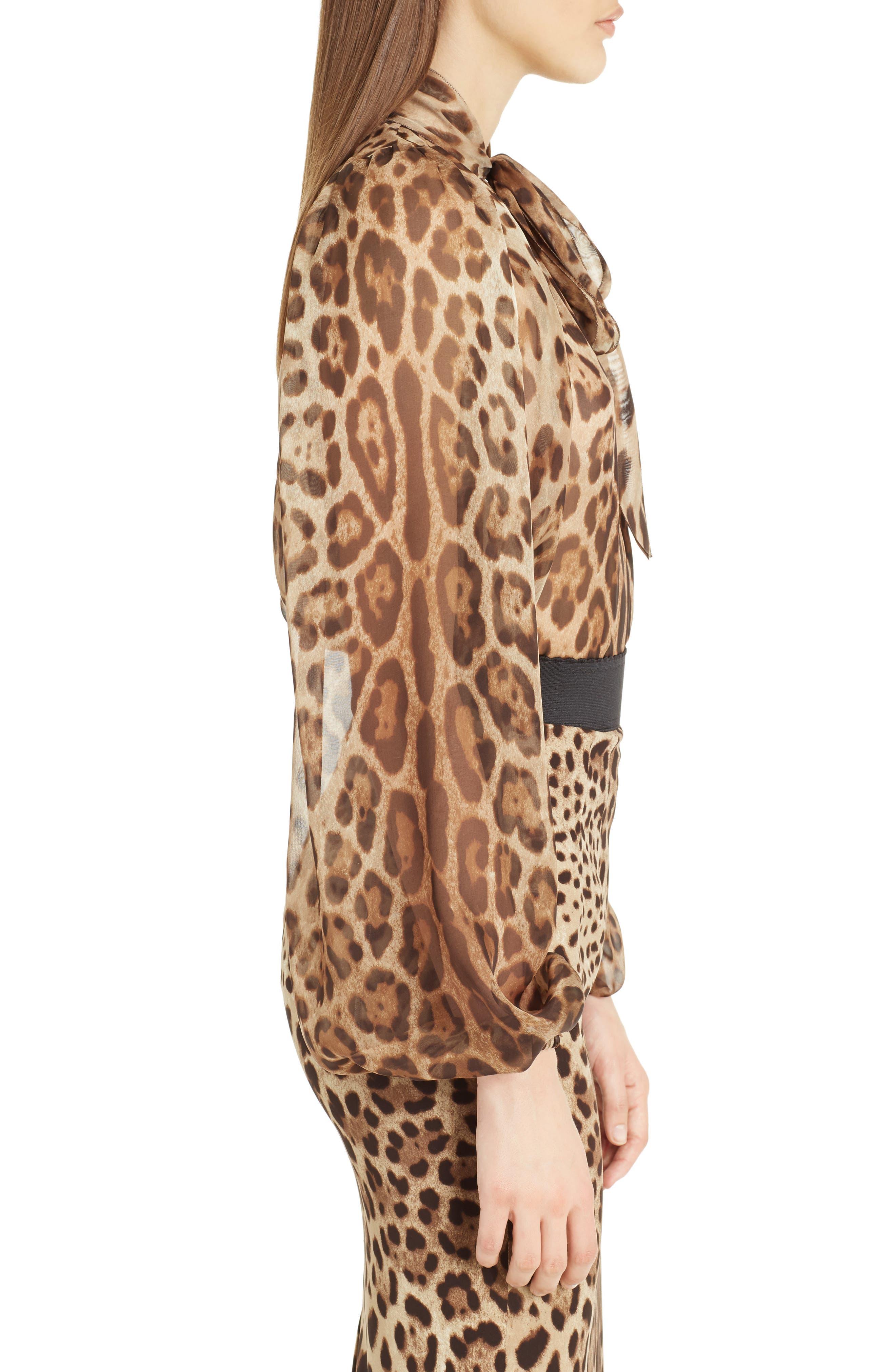 Leopard Print Silk Tie Neck Blouse,                             Alternate thumbnail 3, color,