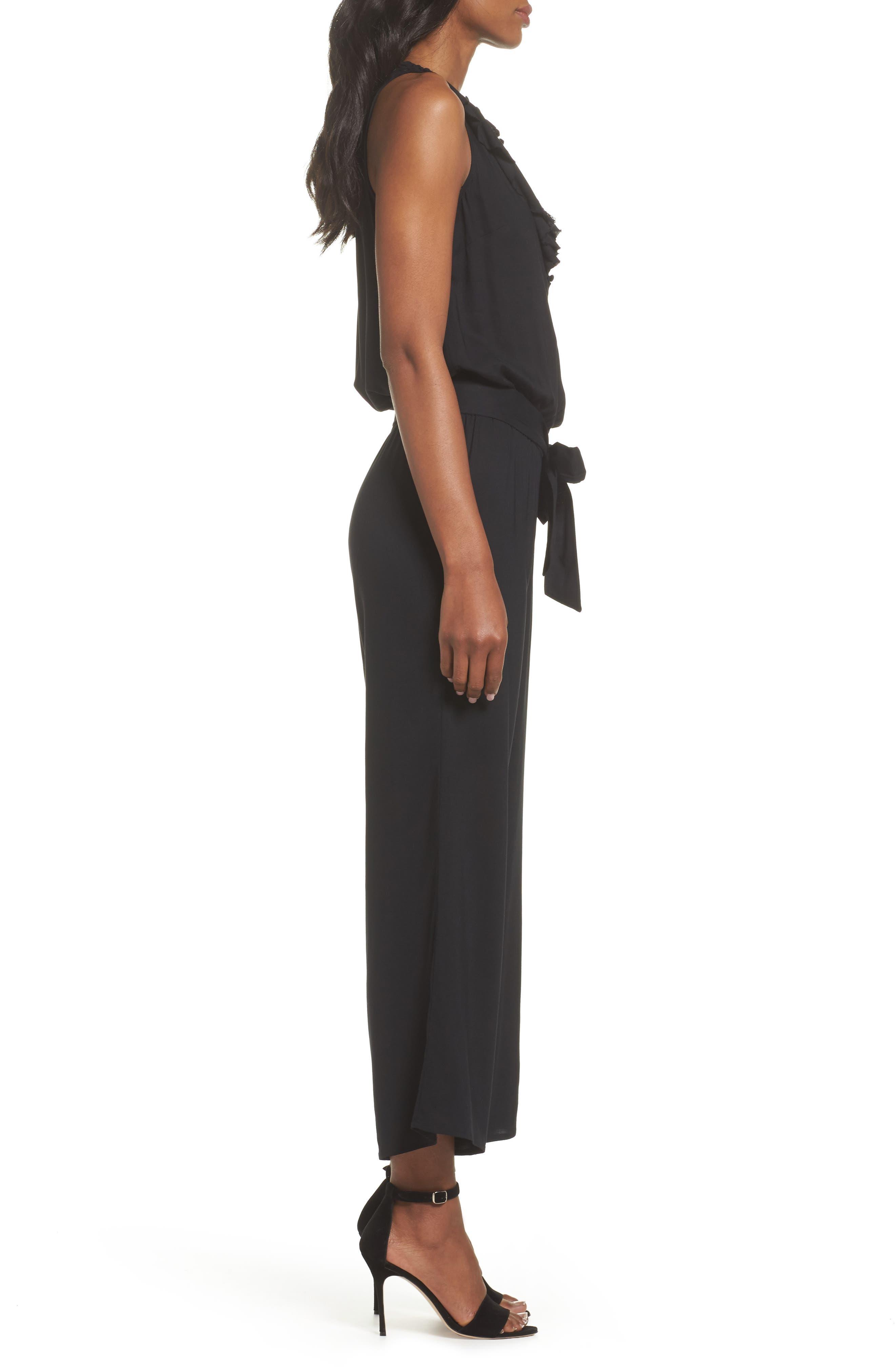 Paletta Ruffle Neck Jumpsuit,                             Alternate thumbnail 3, color,                             BLACK