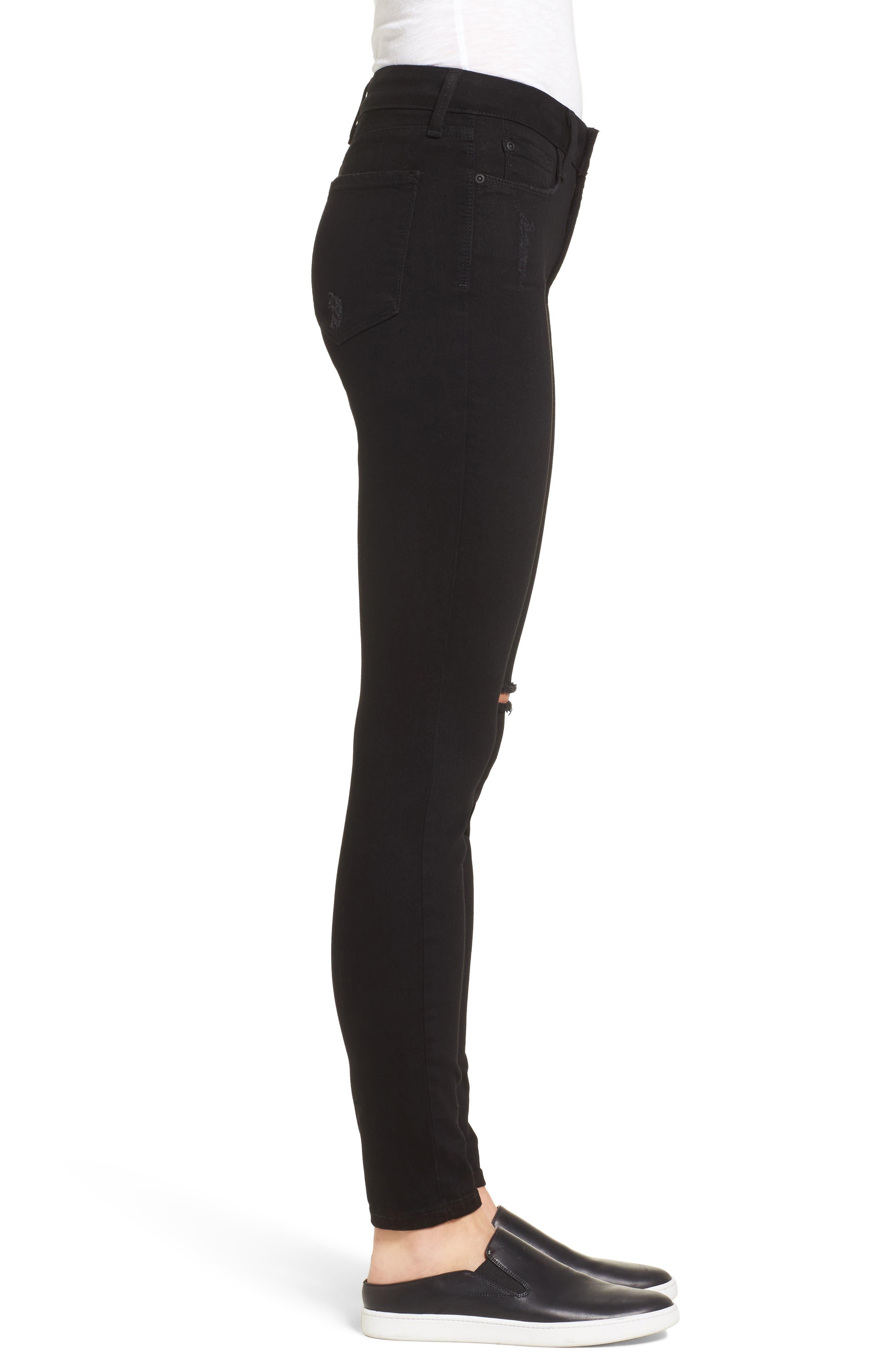 Ami Slash Knee Stretch Skinny Jeans,                             Alternate thumbnail 3, color,                             008