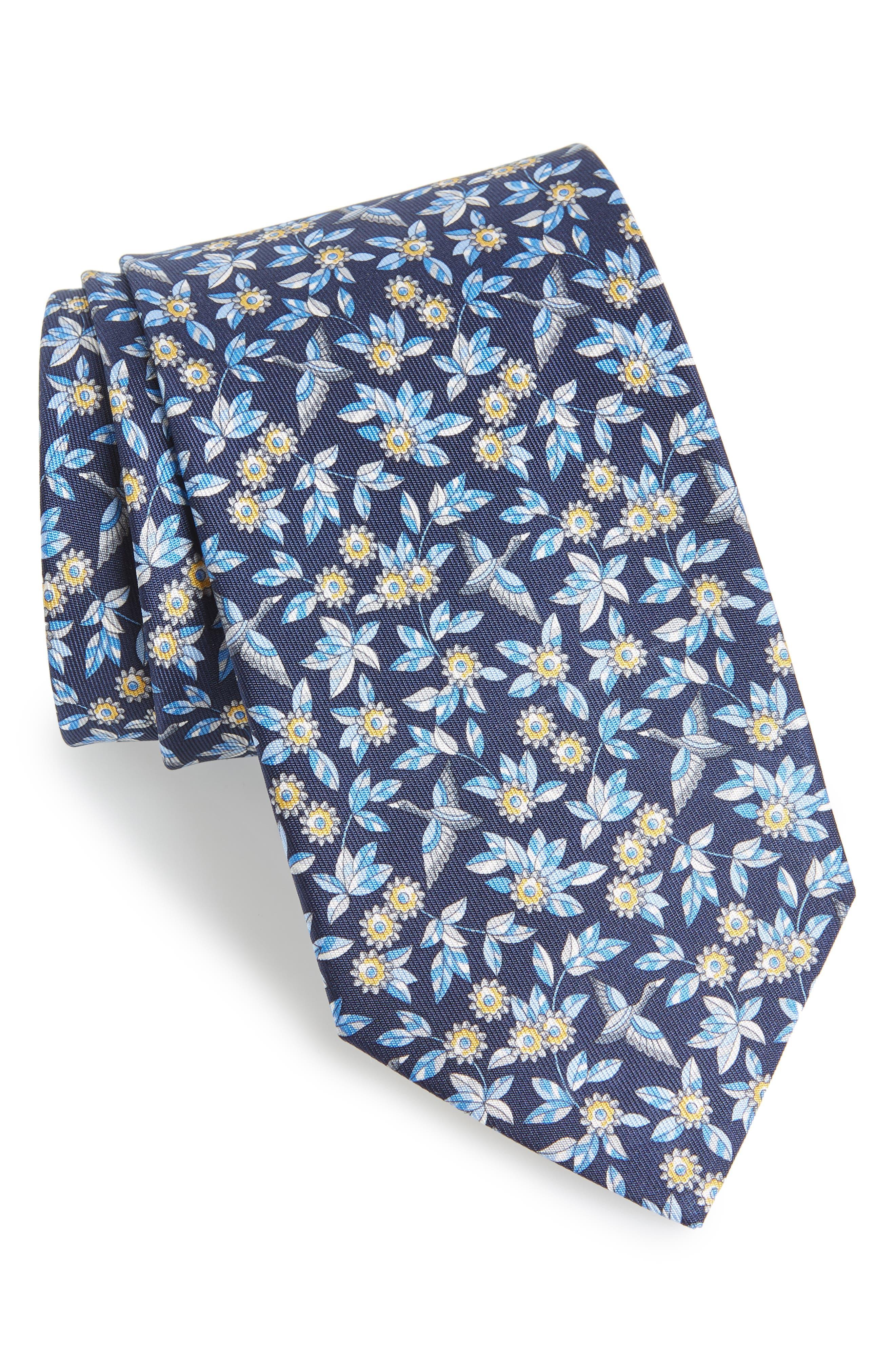 Floral Print Silk Tie,                         Main,                         color, NAVY