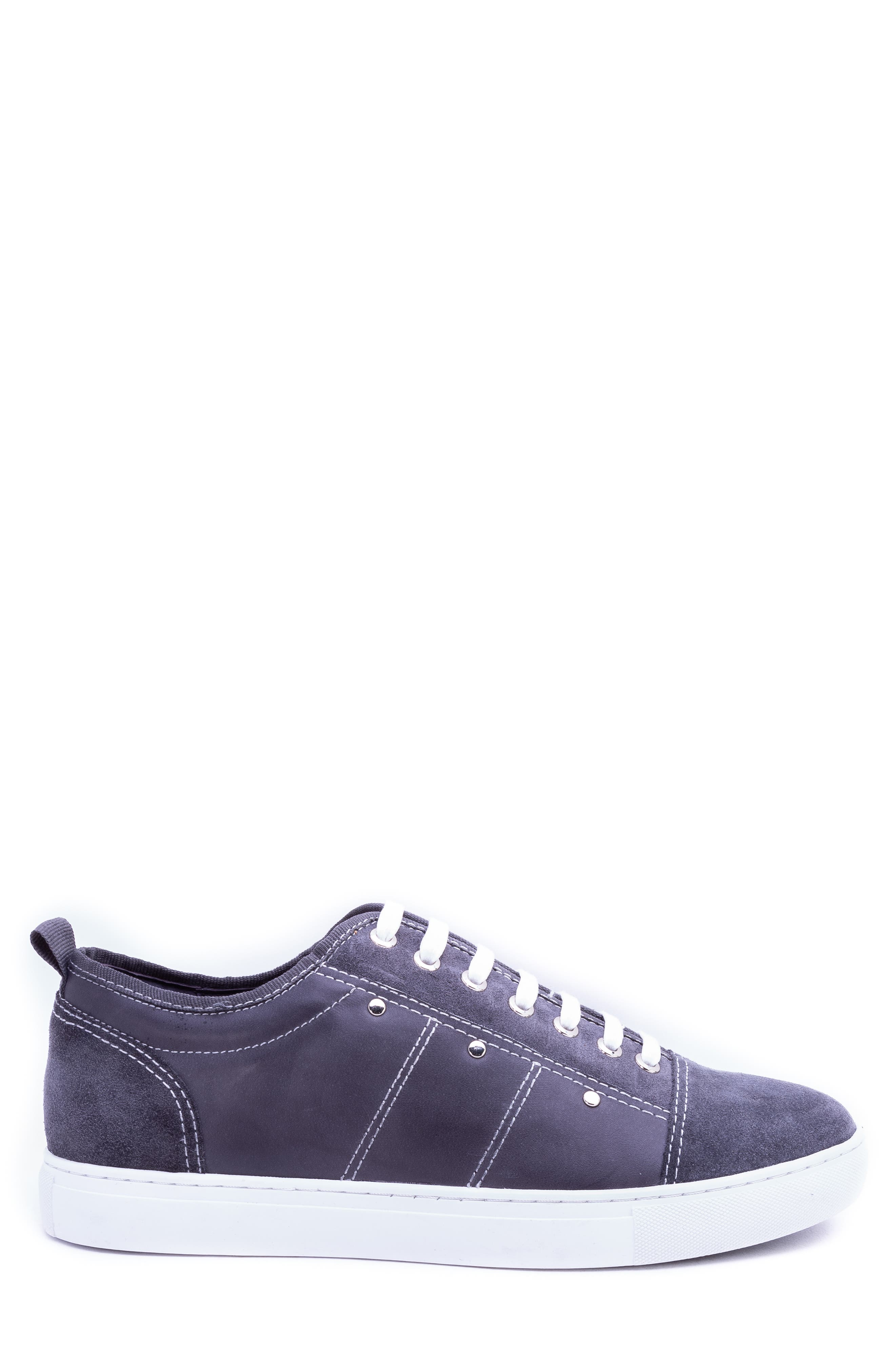 Severn Studded Low Top Sneaker,                             Alternate thumbnail 3, color,                             GREY SUEDE/ LEATHER