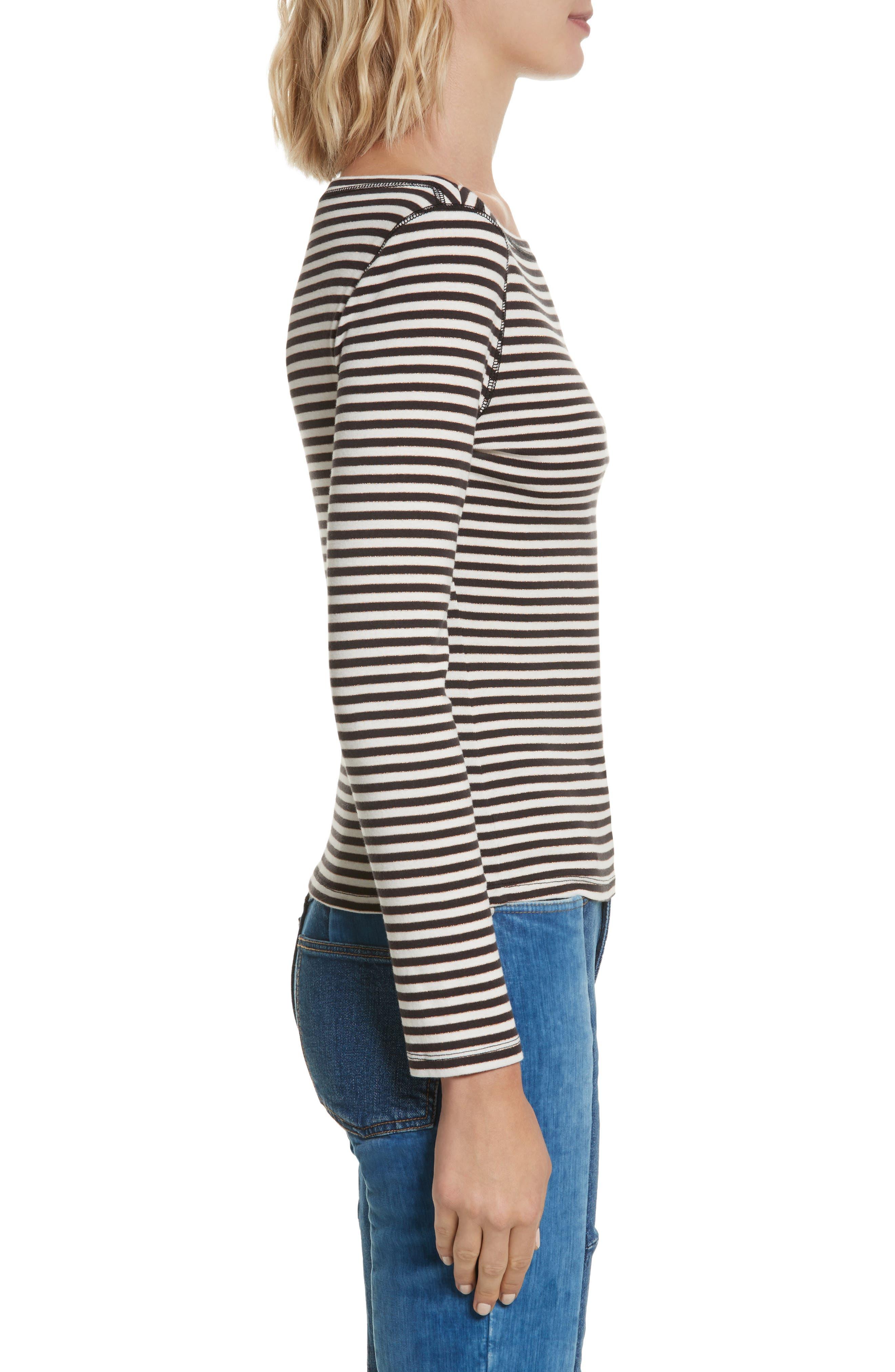 Stripe Metallic Jersey Top,                             Alternate thumbnail 3, color,                             497