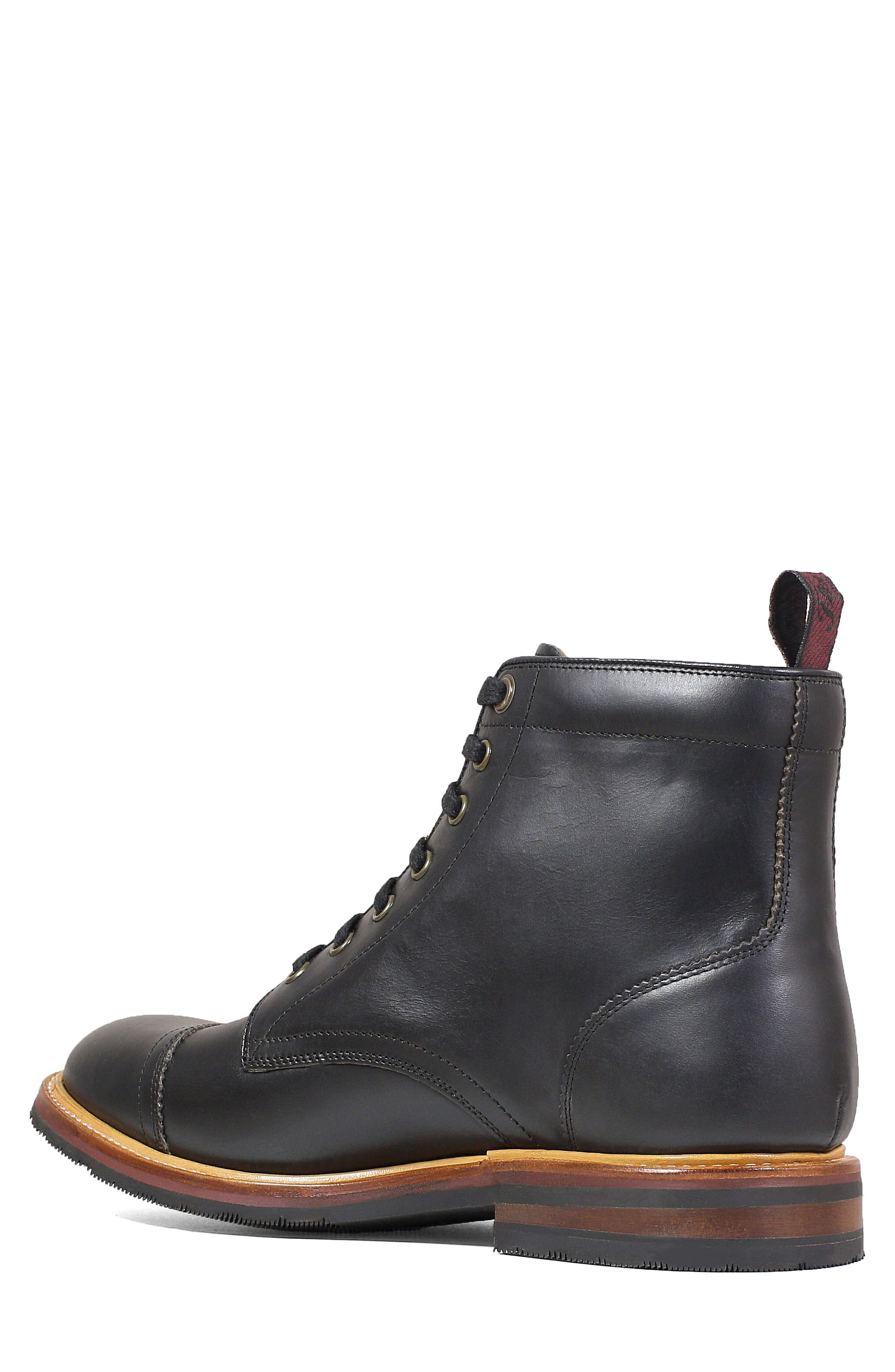 Founcry Cap Toe Boot,                             Alternate thumbnail 2, color,                             BLACK LEATHER