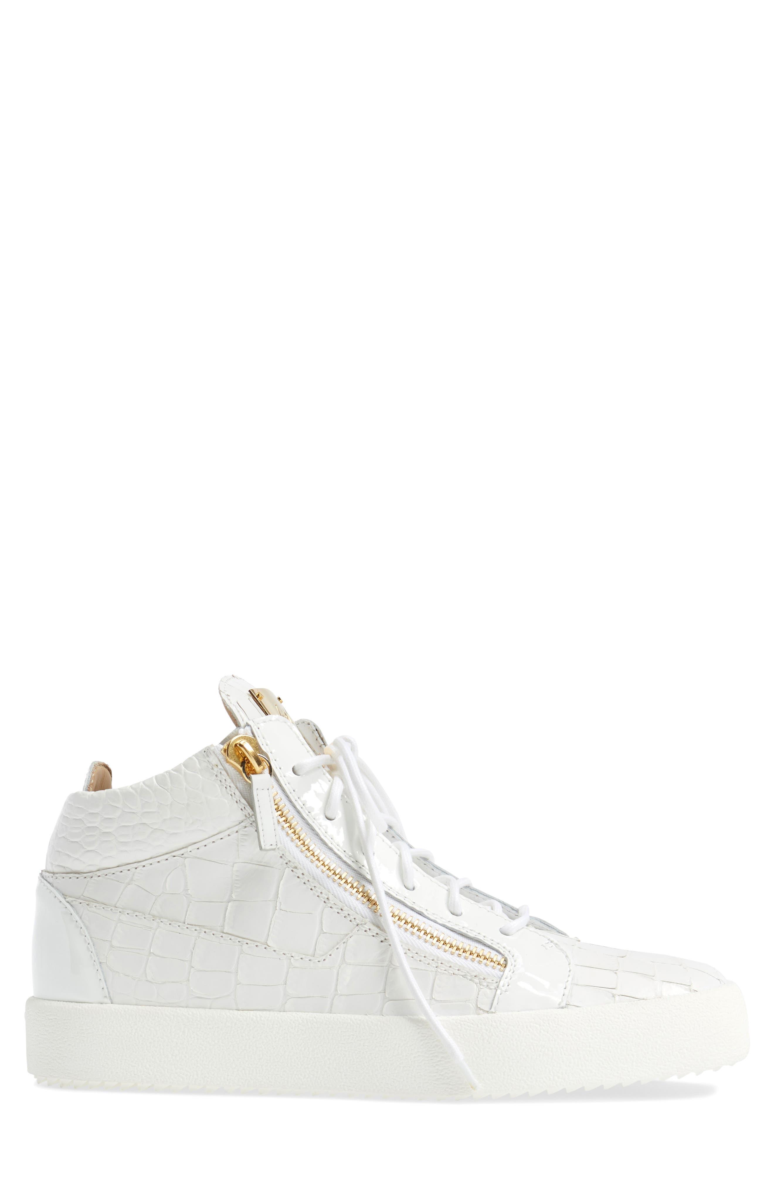 Mid Top Sneaker,                             Alternate thumbnail 3, color,                             WHITE