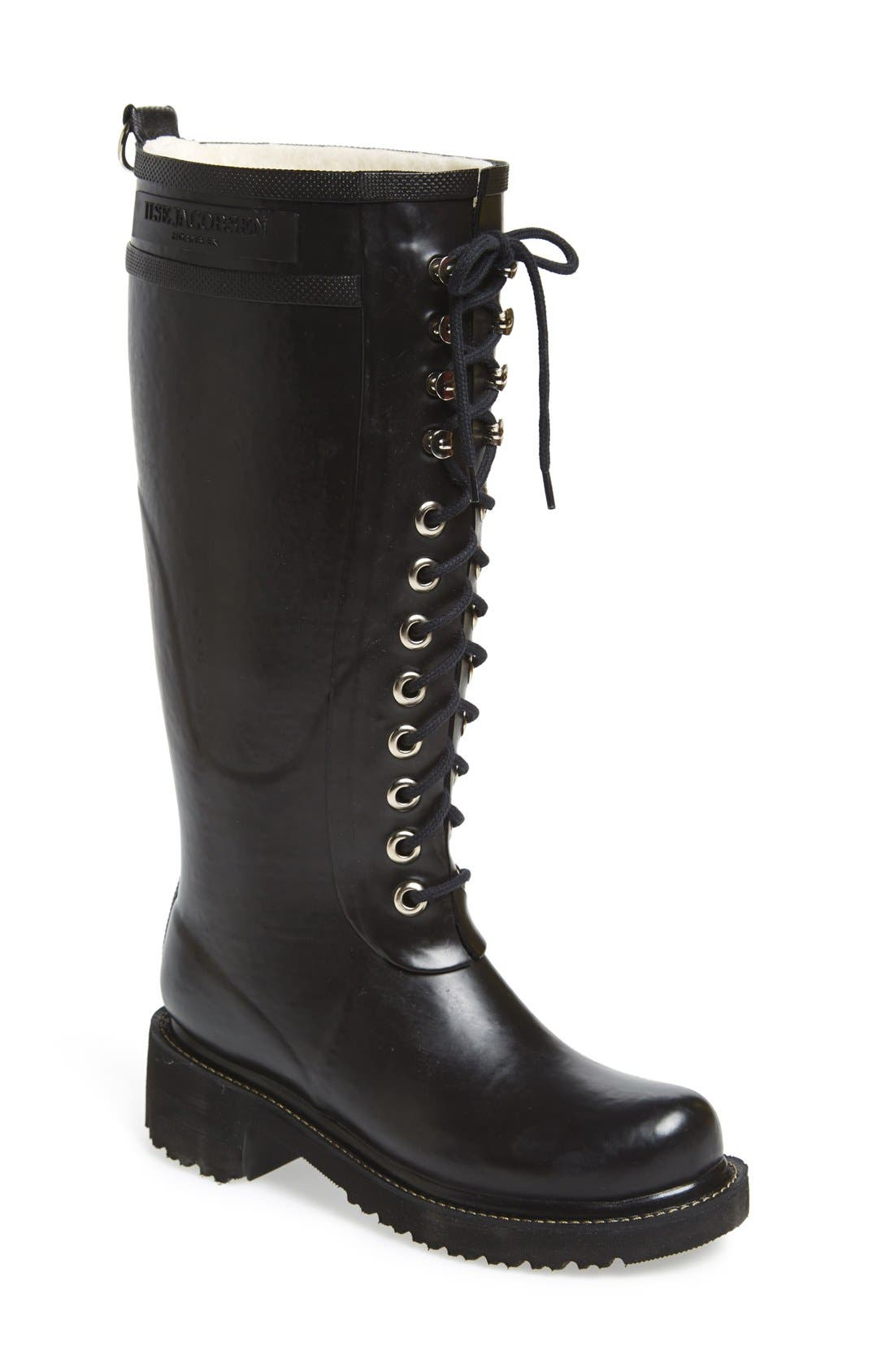Waterproof Lace-Up Snow/Rain Boot,                         Main,                         color, 001
