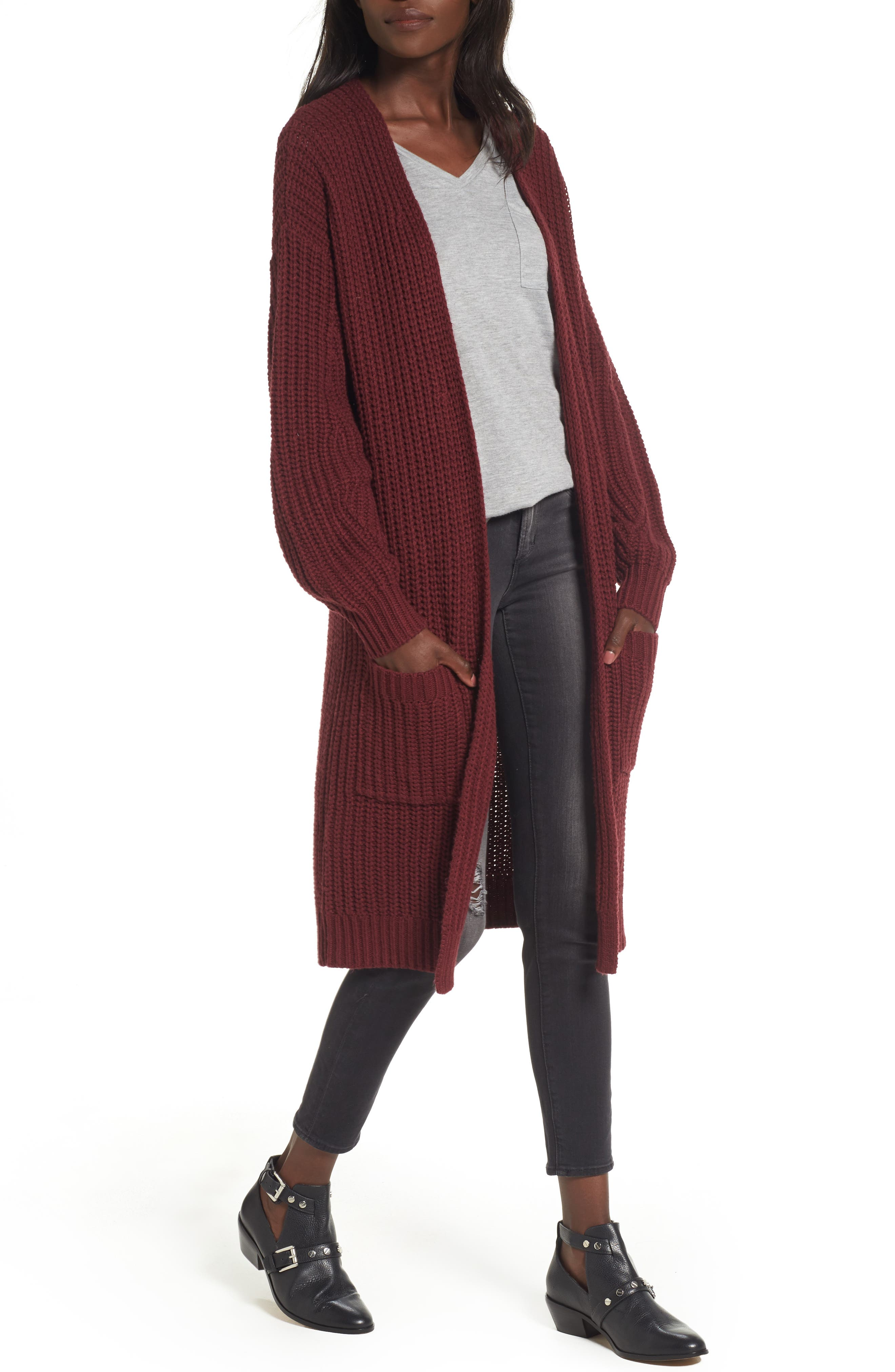 Shaped Sleeve Longline Cardigan,                             Alternate thumbnail 8, color,