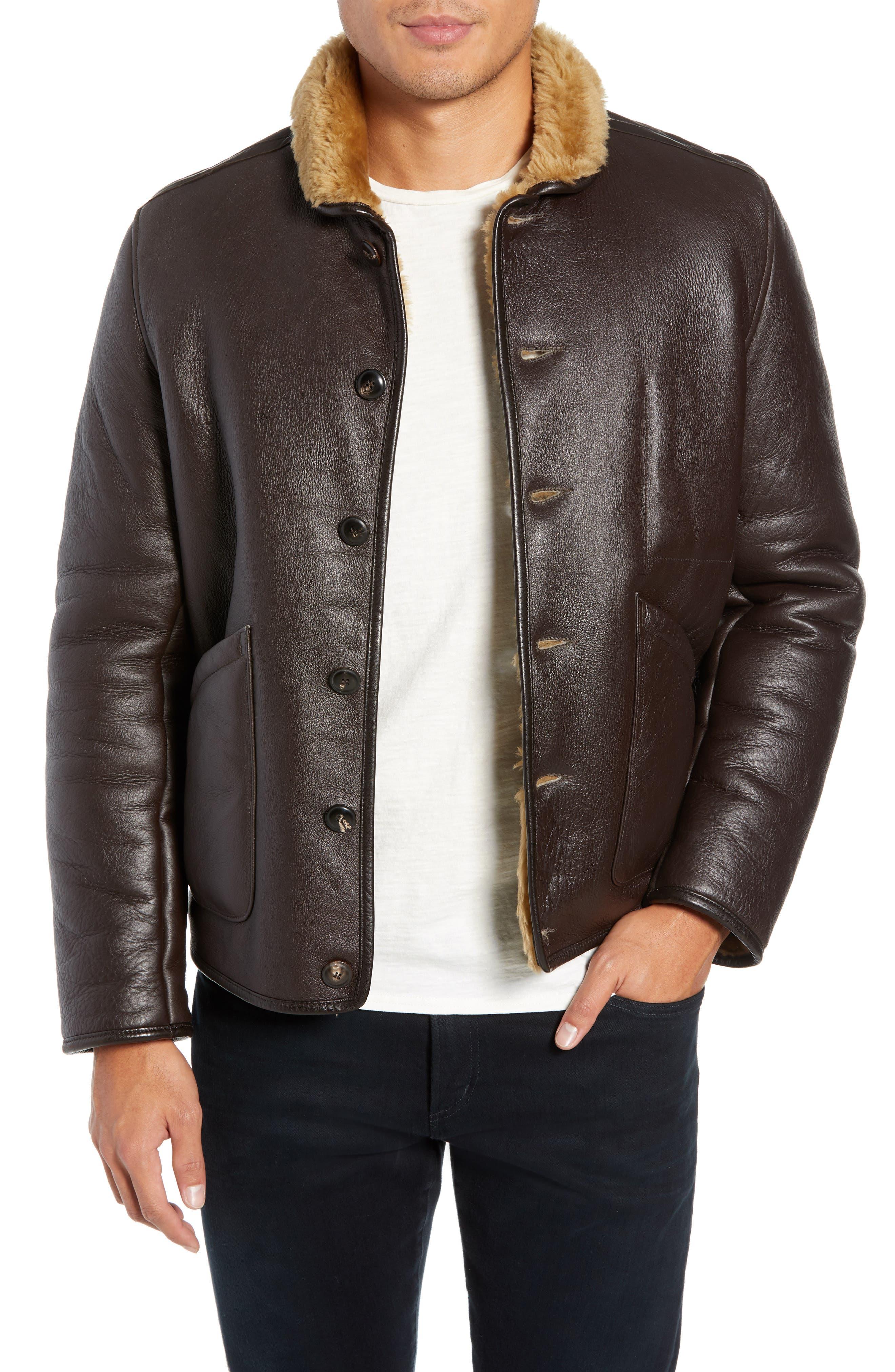 Ymc Brainticket Genuine Shearling Jacket, Brown