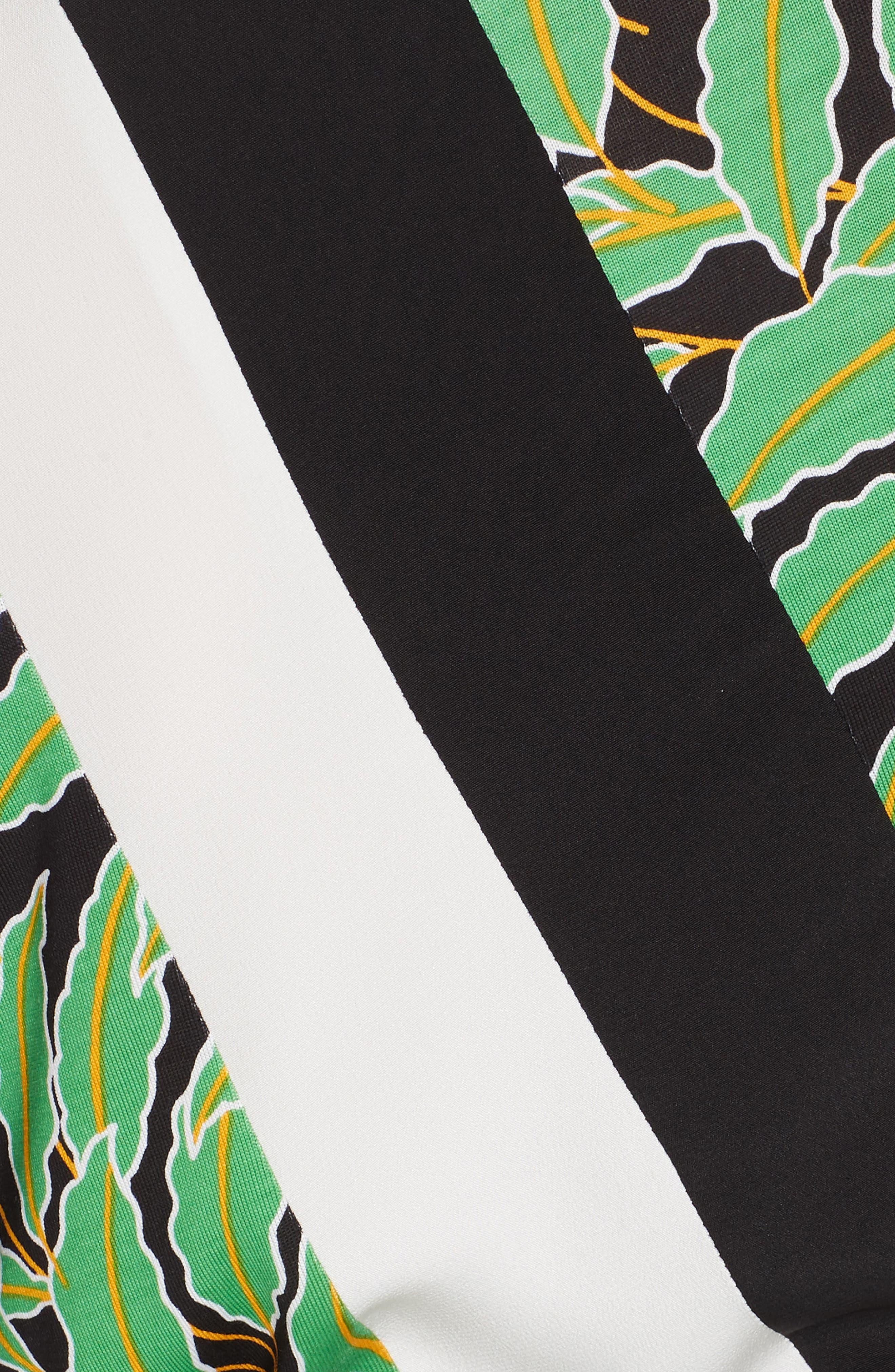Maureen Leaf Print Silk Wrap Dress,                             Alternate thumbnail 6, color,                             WINDSOR PALM BLACK MULTI