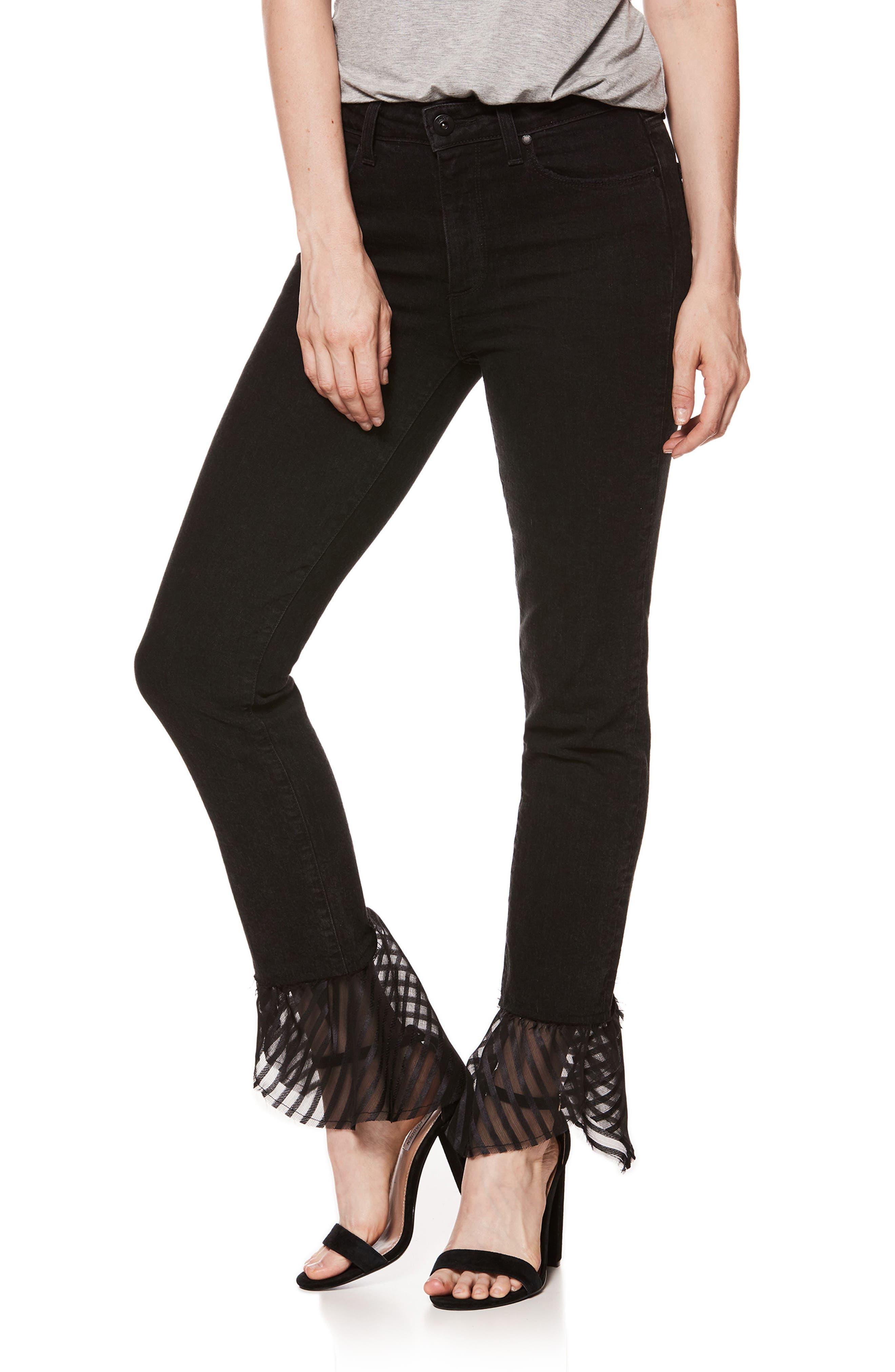 Hoxton High Waist Handkerchief Hem Straight Leg Jeans,                         Main,                         color, 001