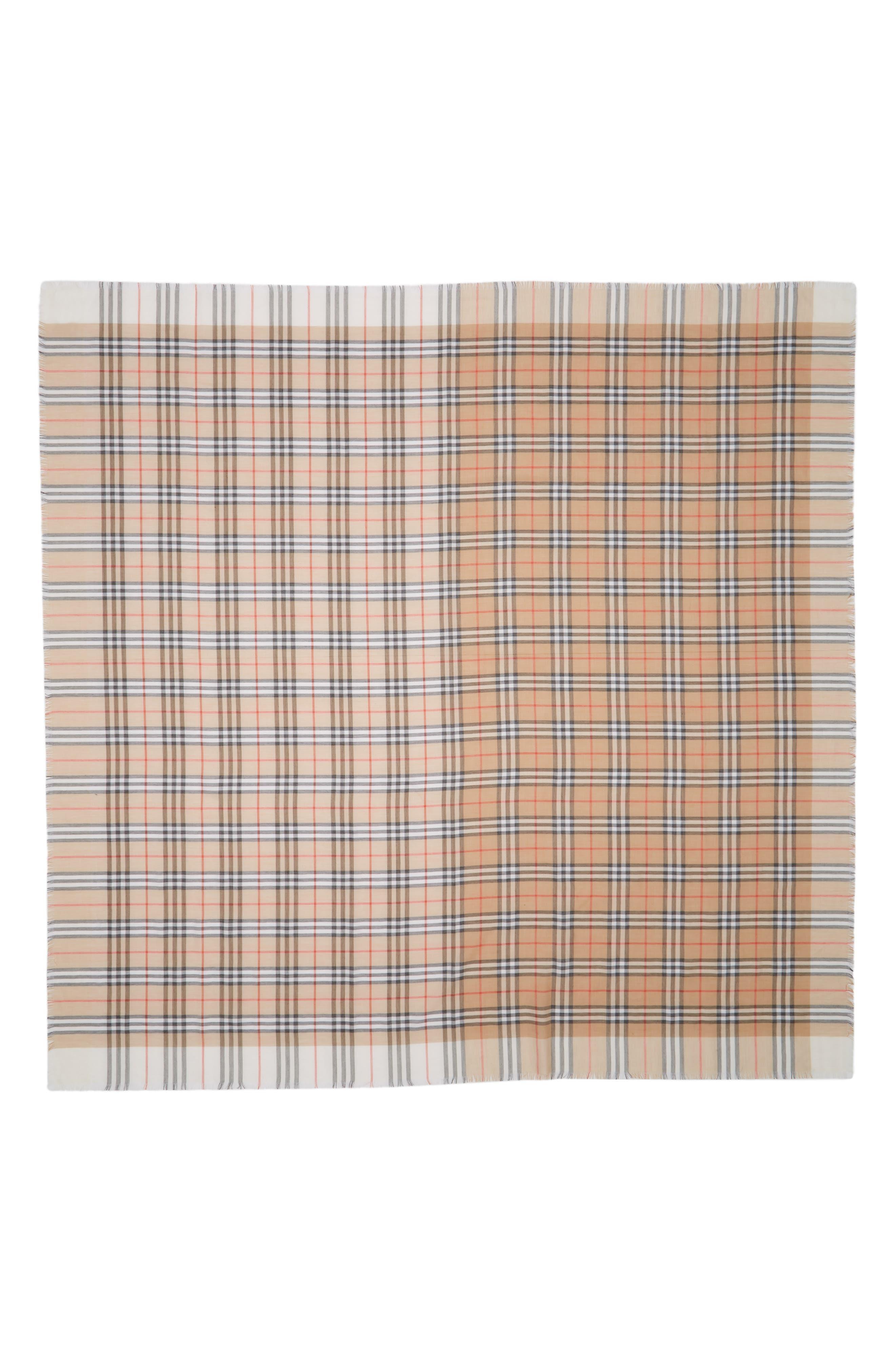 Colorblock Vintage Check Cotton Square Scarf,                             Main thumbnail 1, color,                             WHITE