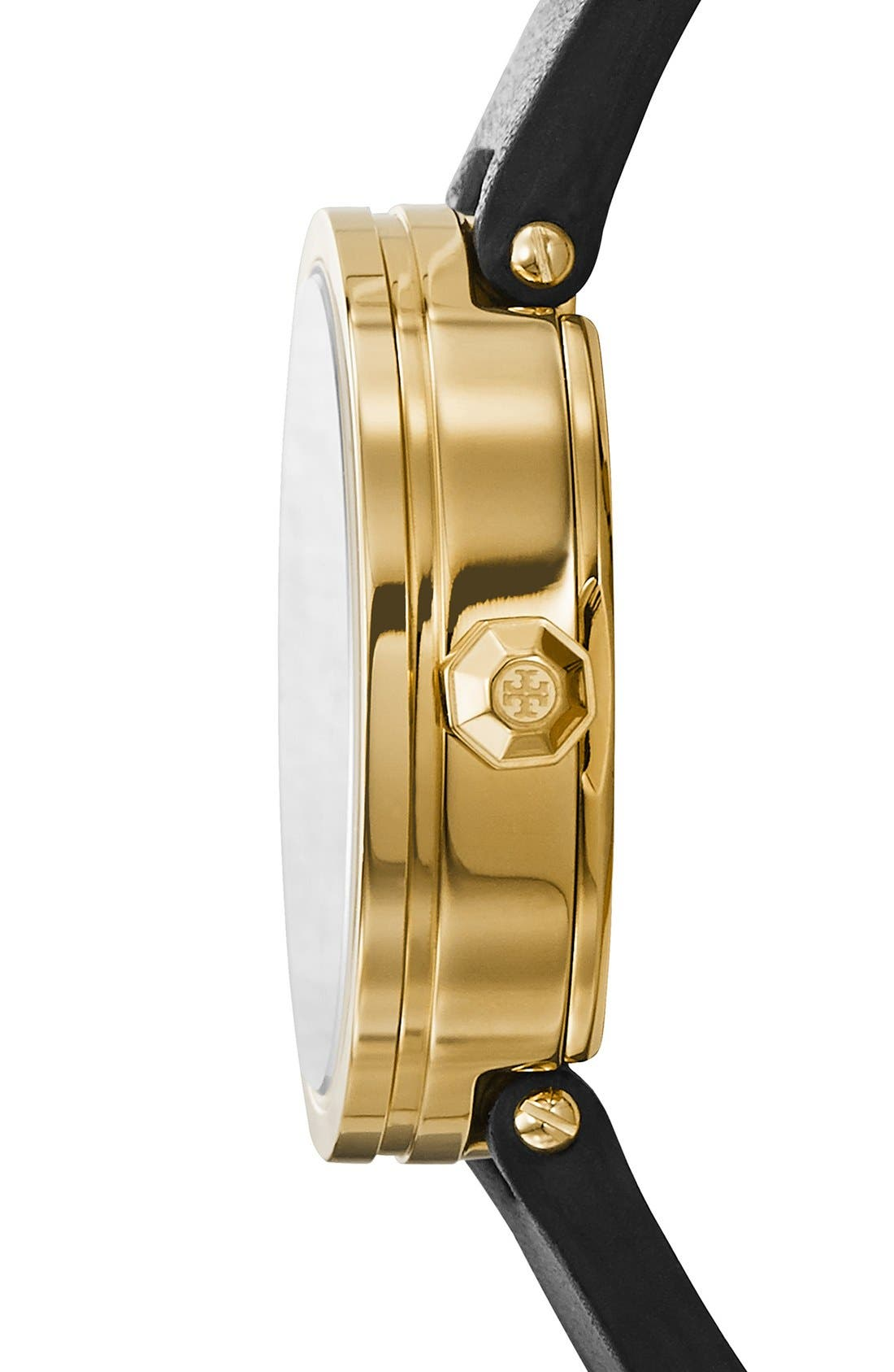 TORY BURCH,                             'Reva' Logo Dial Leather Strap Watch, 28mm,                             Alternate thumbnail 2, color,                             002