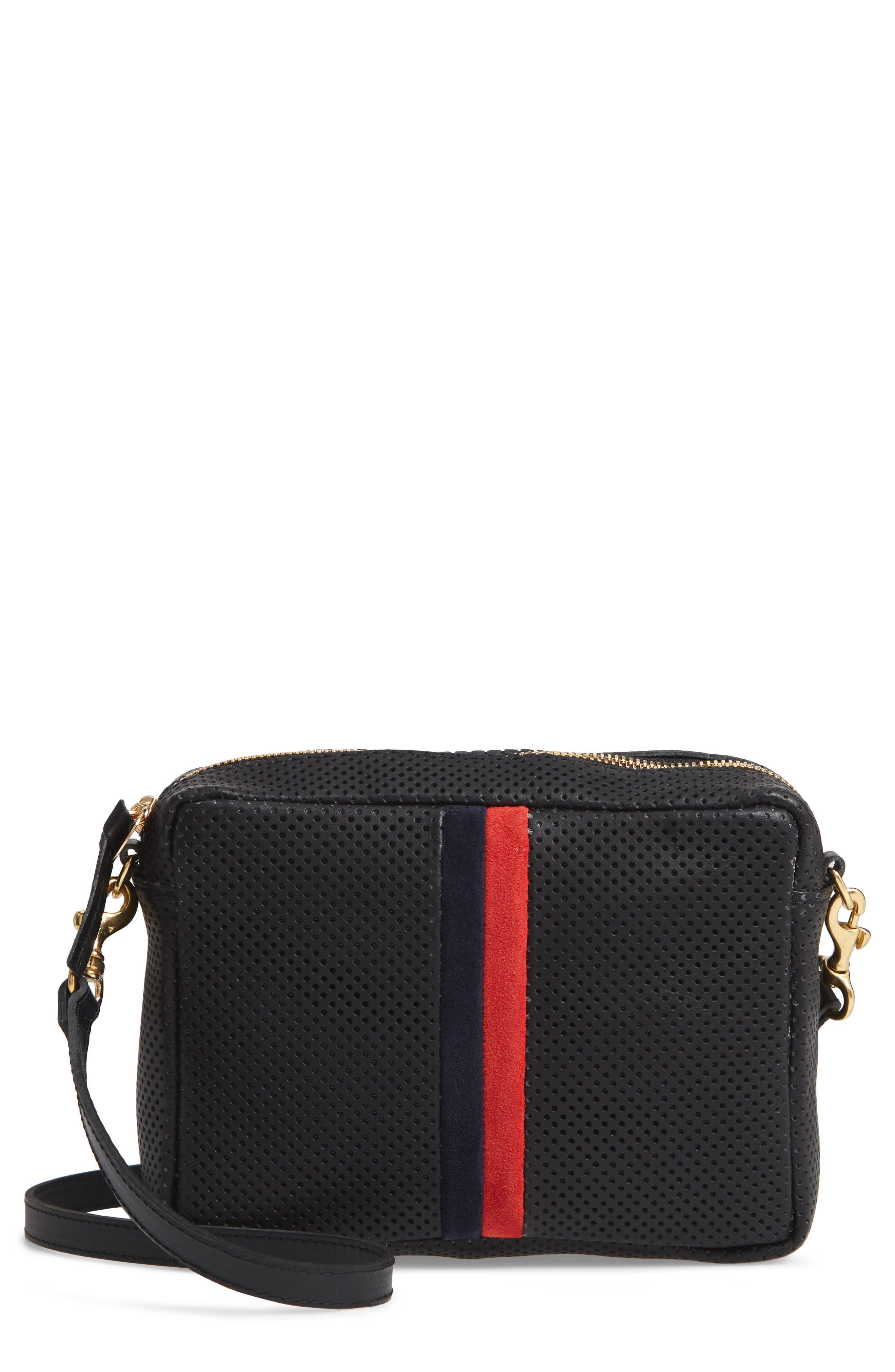 CLARE V Midi Sac Perforated Leather Crossbody Bag - Black in Black Perf With Navy