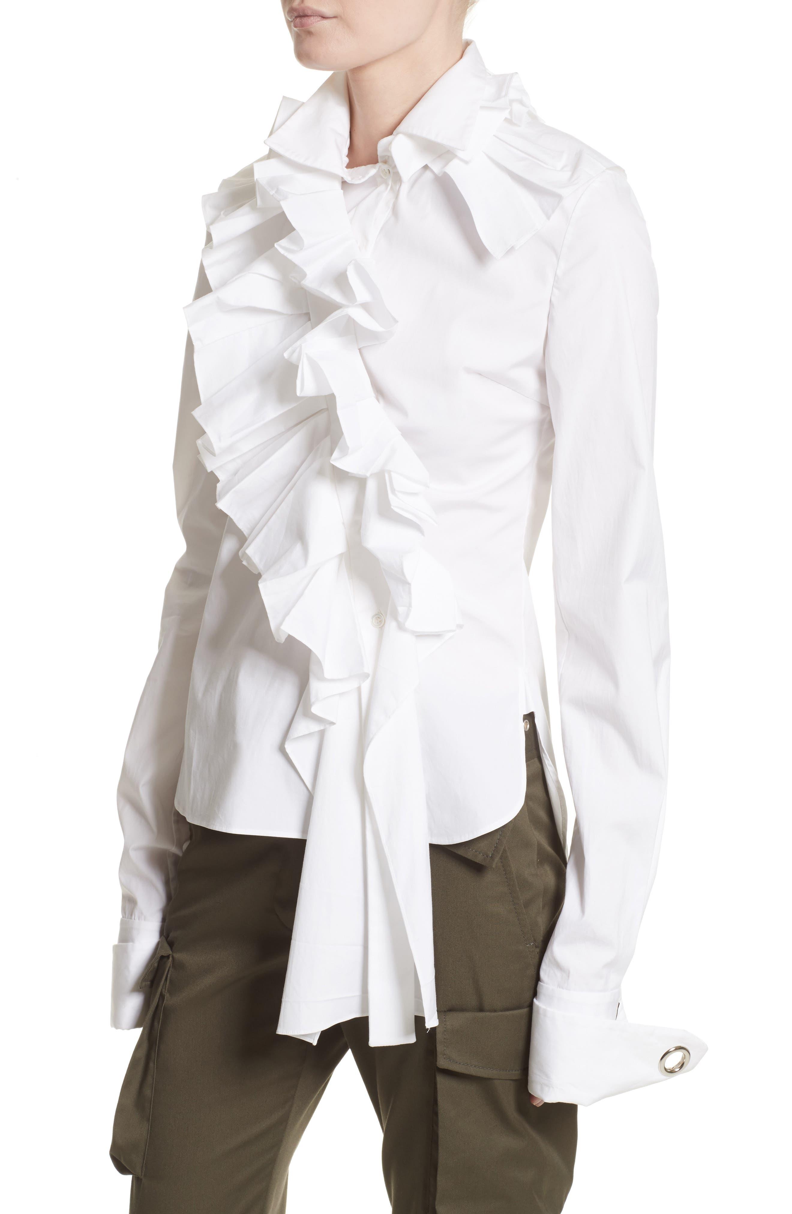Ruffle Stretch Cotton Blouse,                             Alternate thumbnail 4, color,                             100