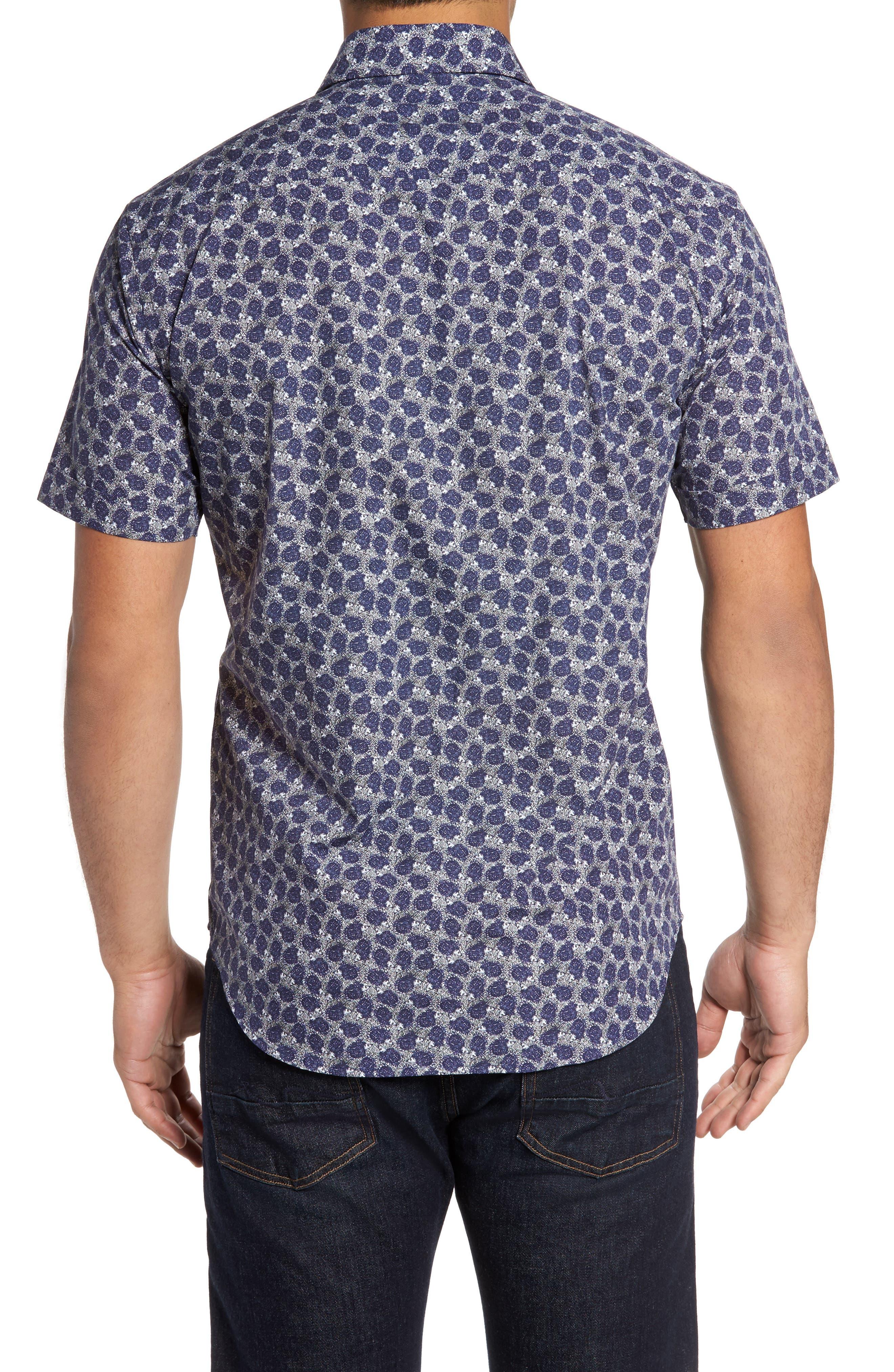 Shaped Fit Print Sport Shirt,                             Alternate thumbnail 2, color,                             408