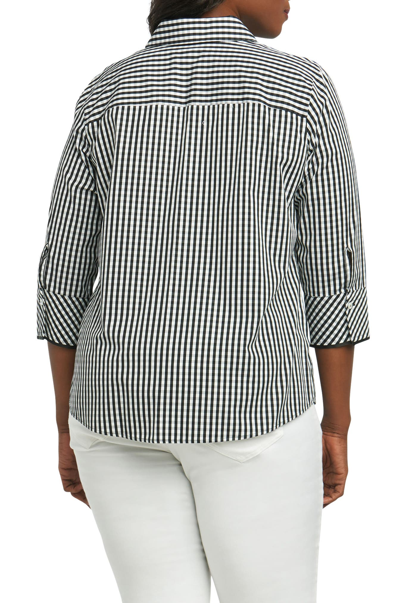 Mary Gingham Wrinkle Free Shirt,                             Alternate thumbnail 2, color,                             002