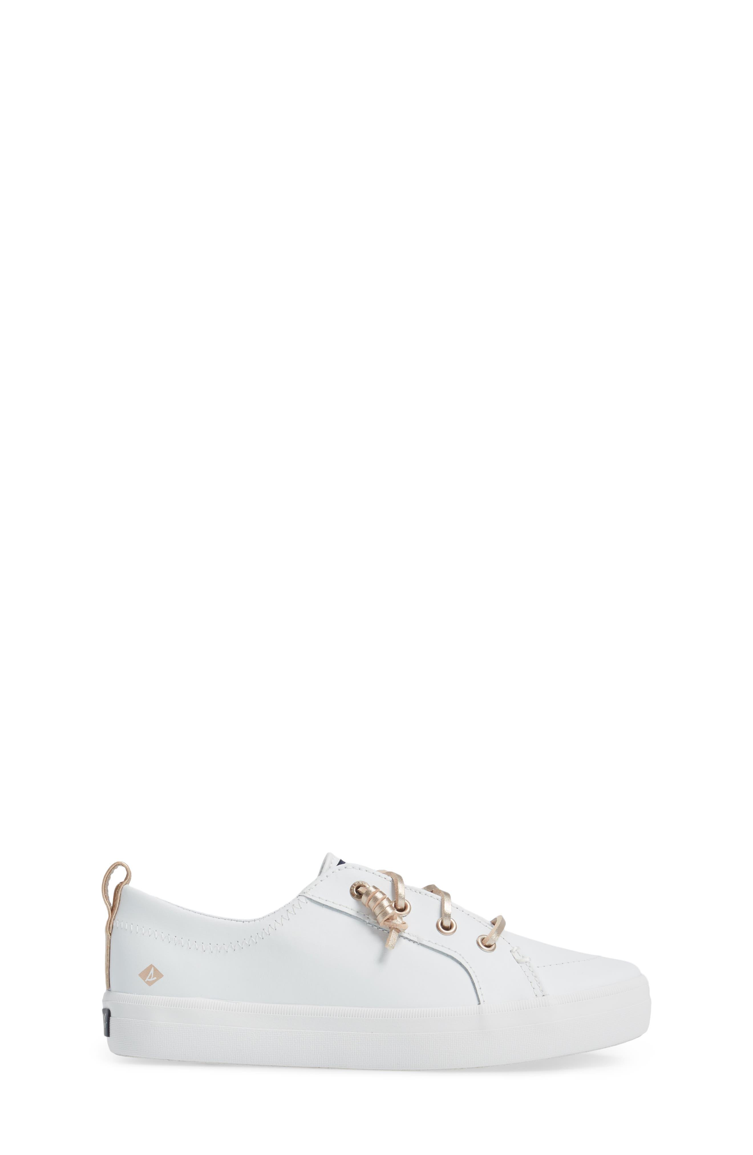 Sperry Crest Vibe Sneaker,                             Alternate thumbnail 3, color,                             WHITE LEATHER