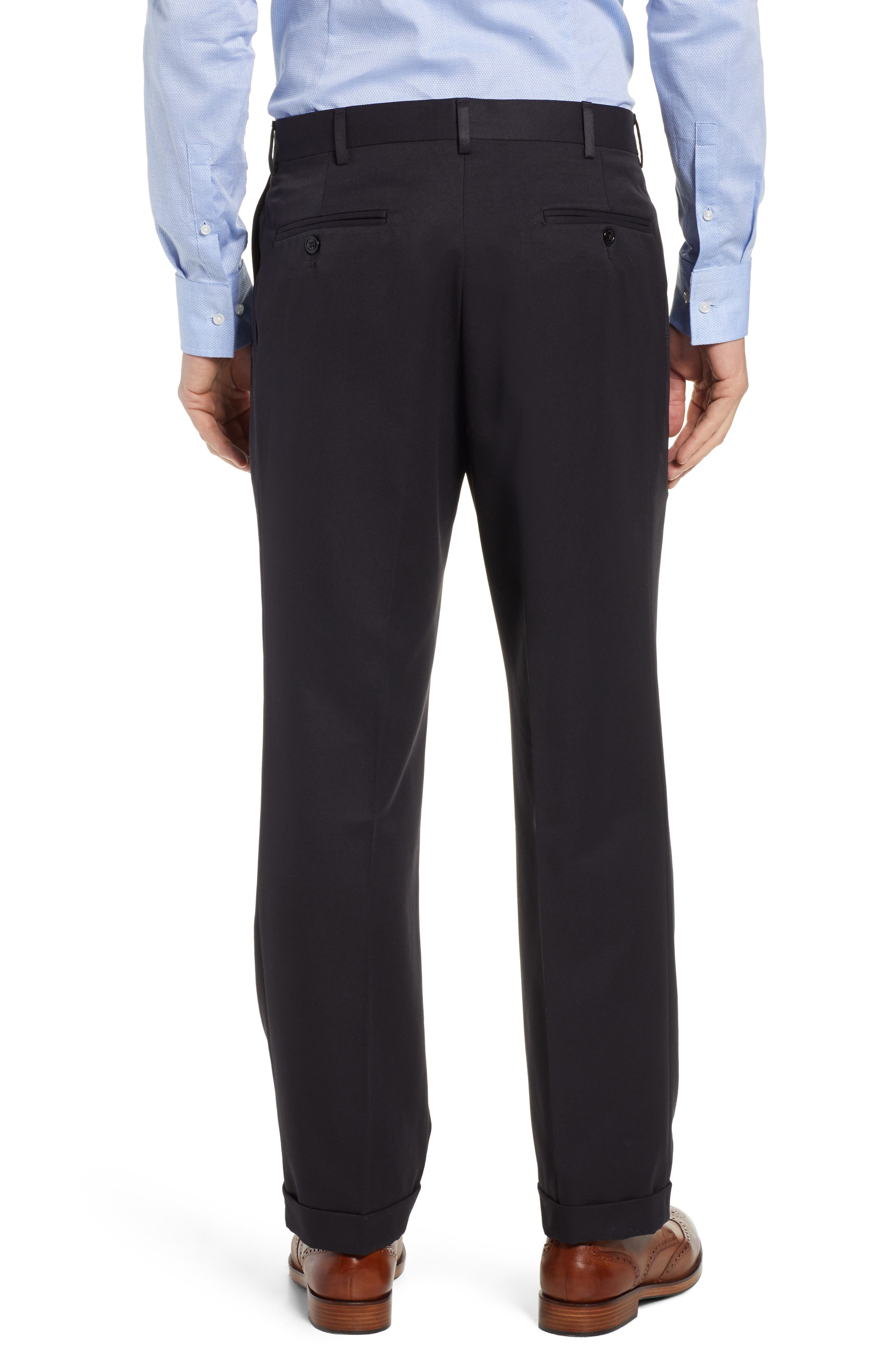 Classic Fit Pleated Microfiber Performance Trousers,                             Alternate thumbnail 2, color,                             BLACK