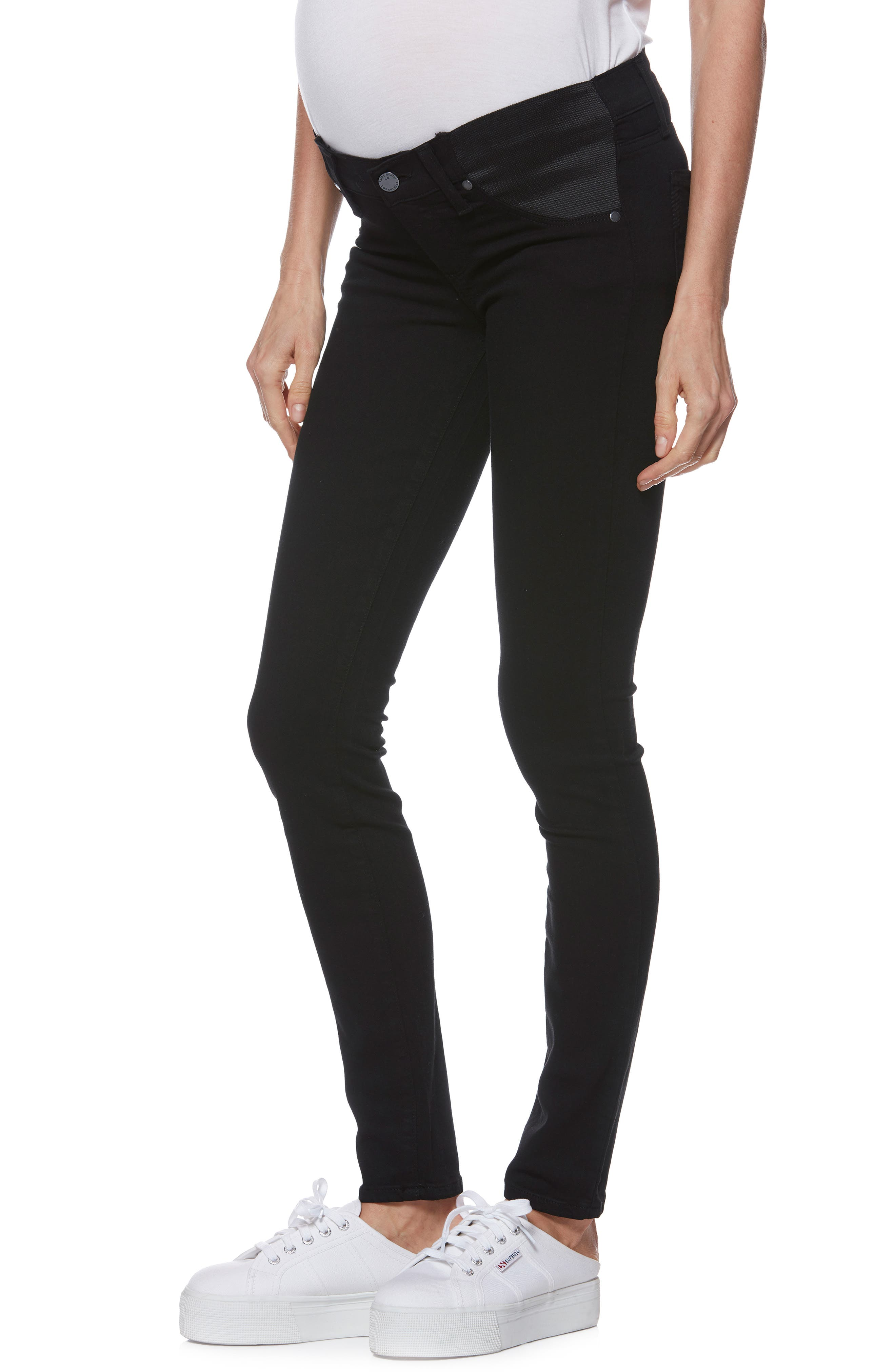 'Transcend - Verdugo Ultra Skinny Maternity Jeans,                             Main thumbnail 1, color,                             BLACK SHADOW
