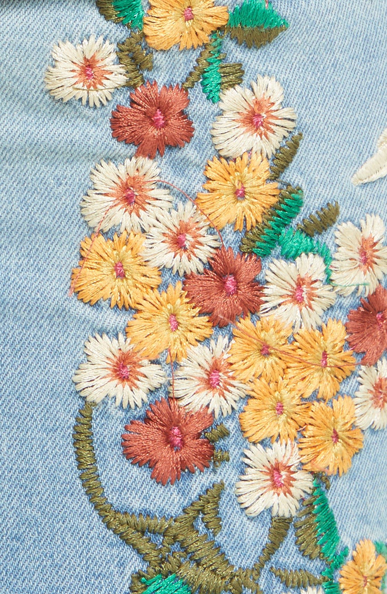 Embroidered Crop Girlfriend Jeans,                             Alternate thumbnail 5, color,                             400
