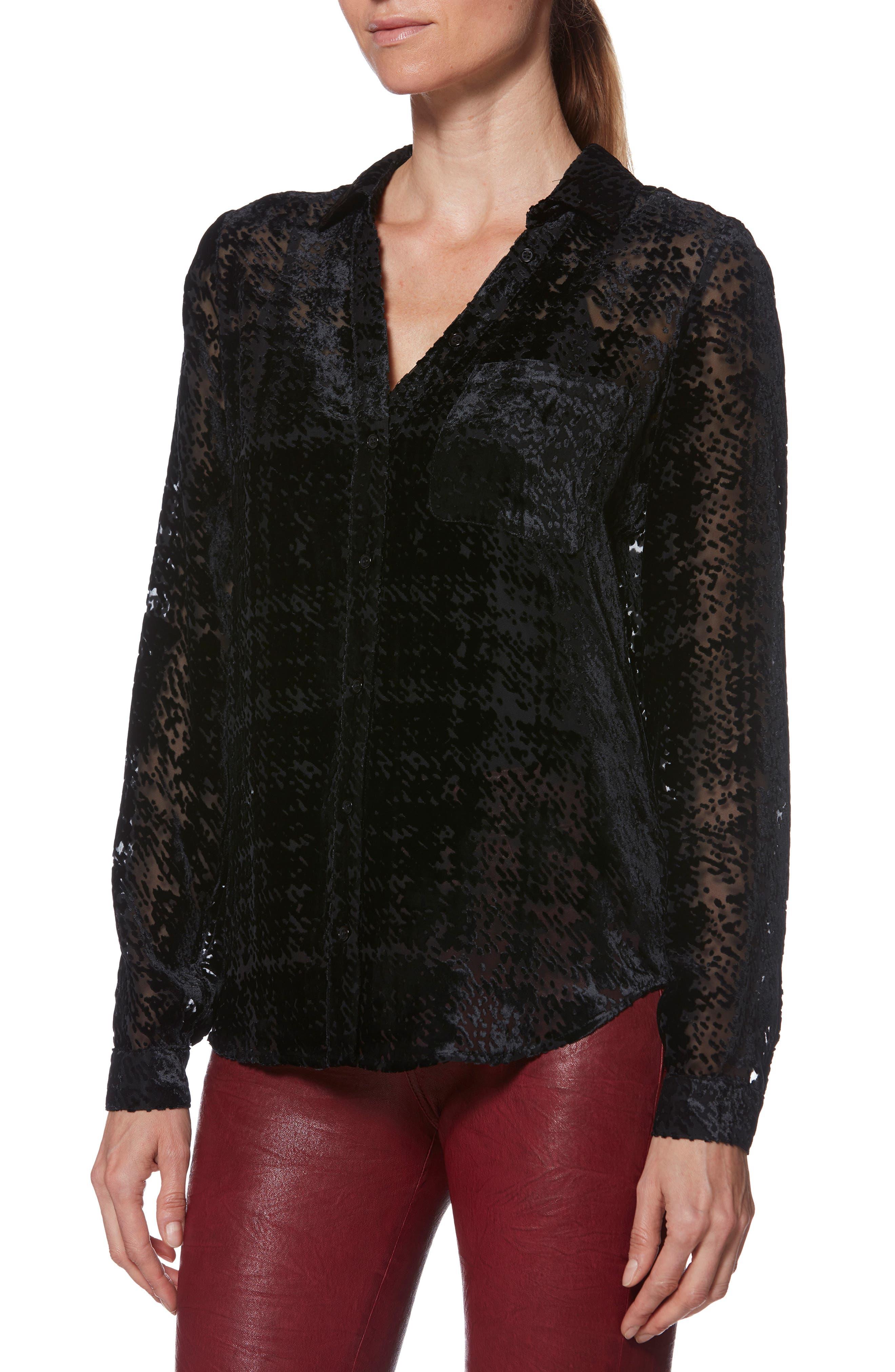 Linara Burnout Velvet Top,                         Main,                         color, BLACK