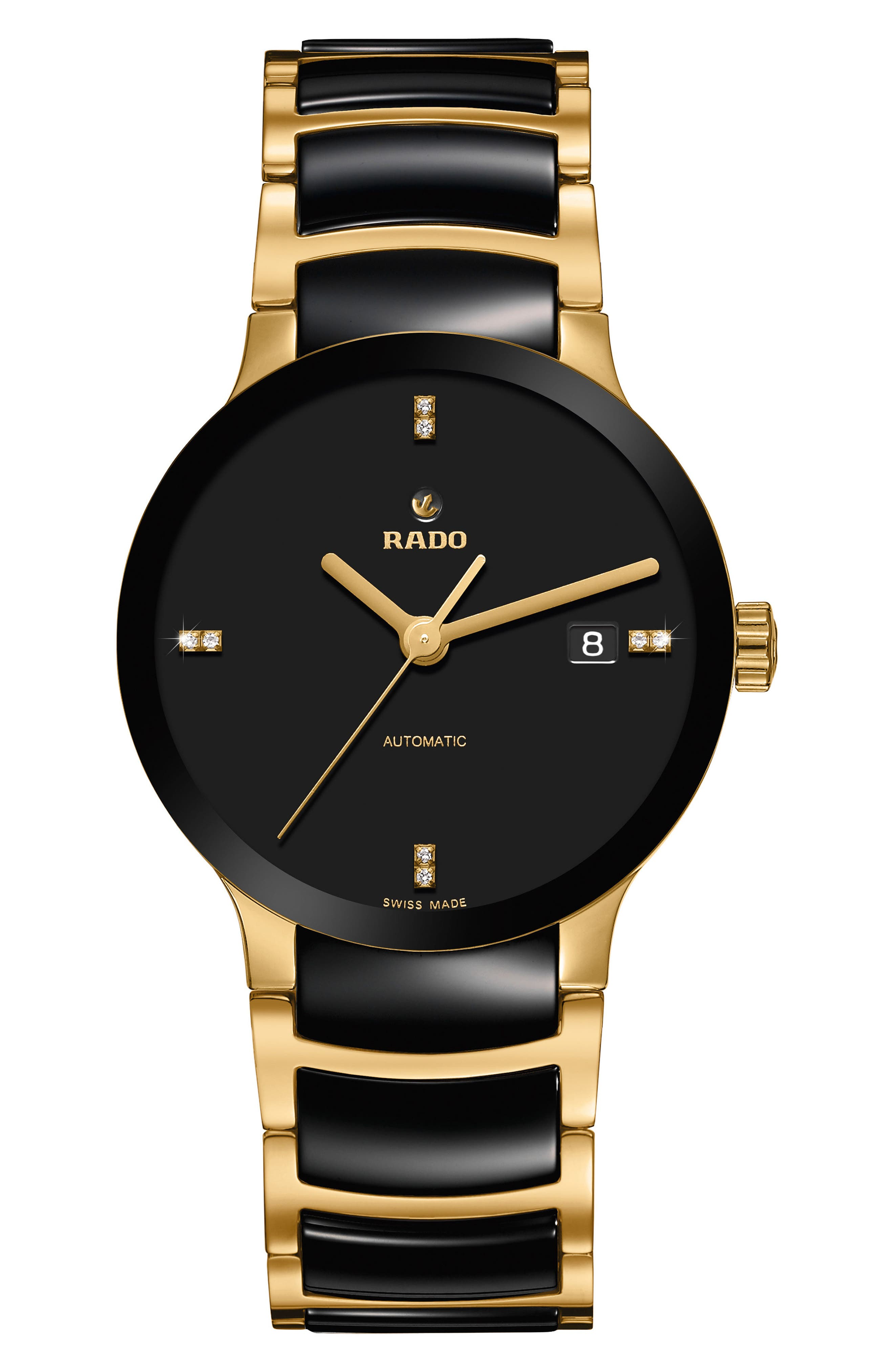 Centrix Automatic Diamond Ceramic Bracelet Watch, 38mm,                         Main,                         color, GOLD/ BLACK