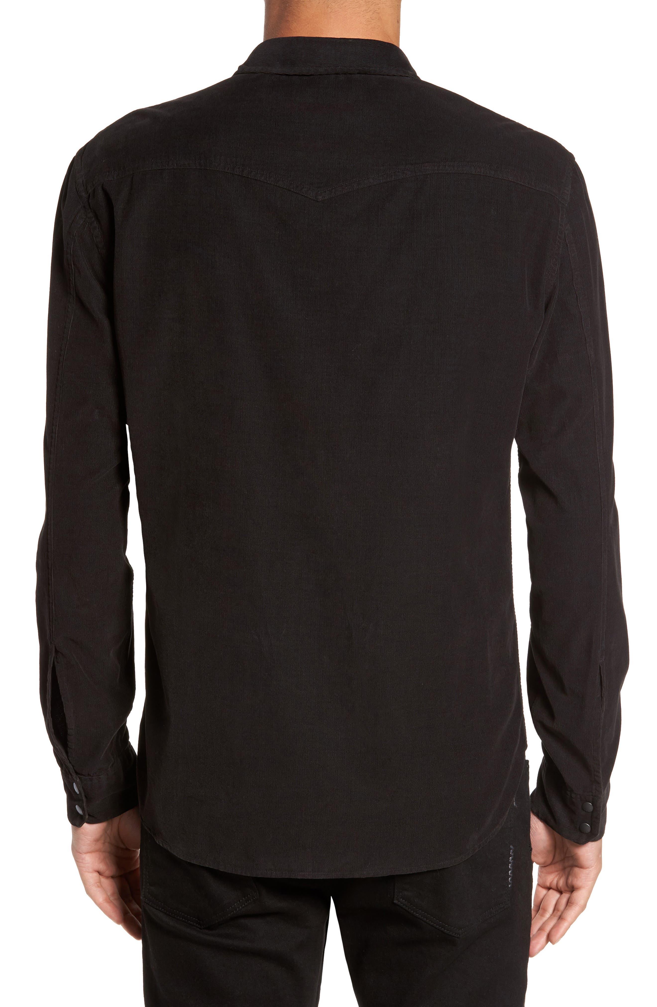 Snap Front Corduroy Sport Shirt,                             Alternate thumbnail 2, color,                             001