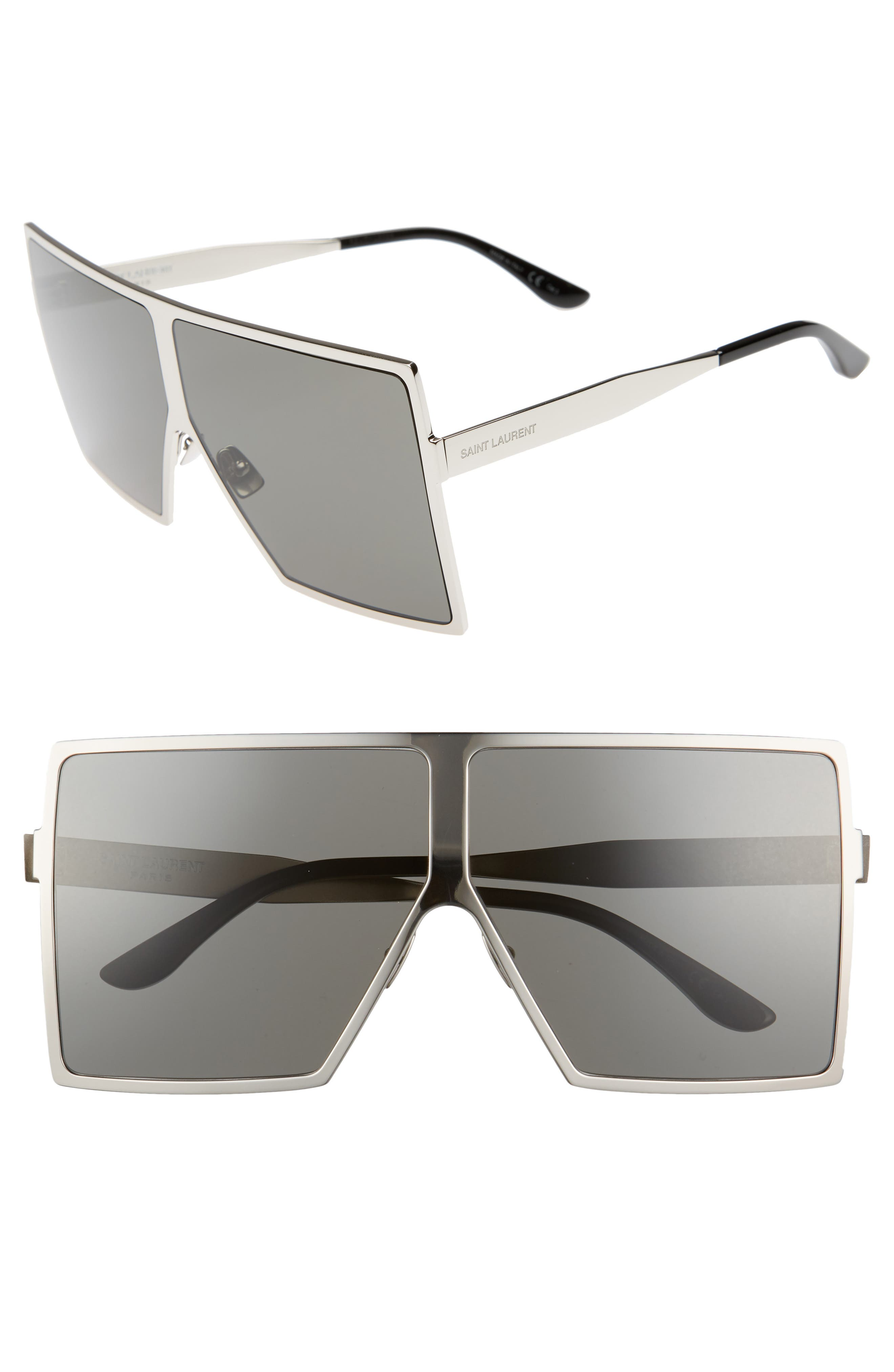 Betty 68mm Metal Shield Sunglasses,                             Main thumbnail 1, color,                             SILVER