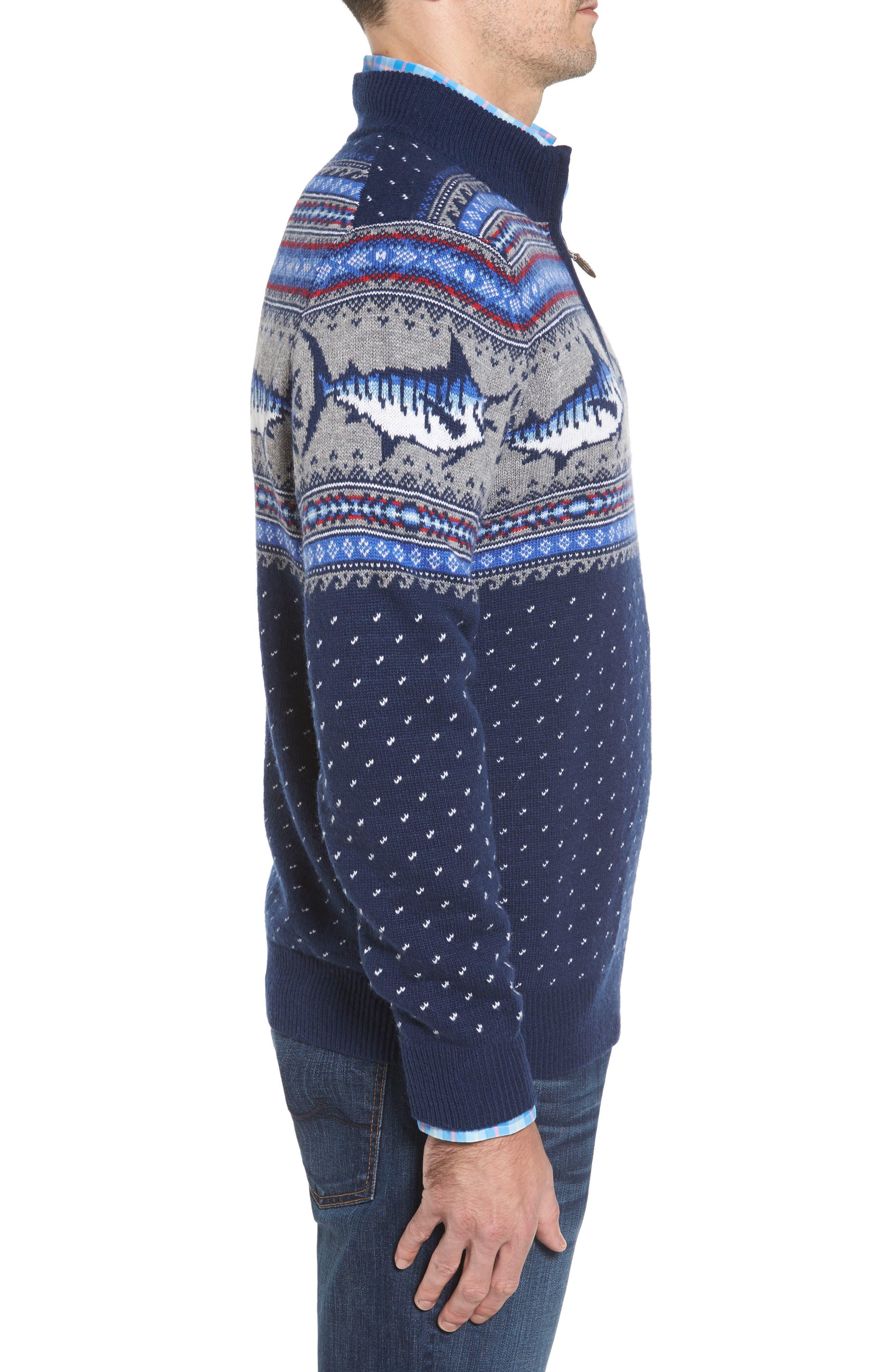 Marlin Fair Isle Quarter Zip Sweater,                             Alternate thumbnail 3, color,                             400