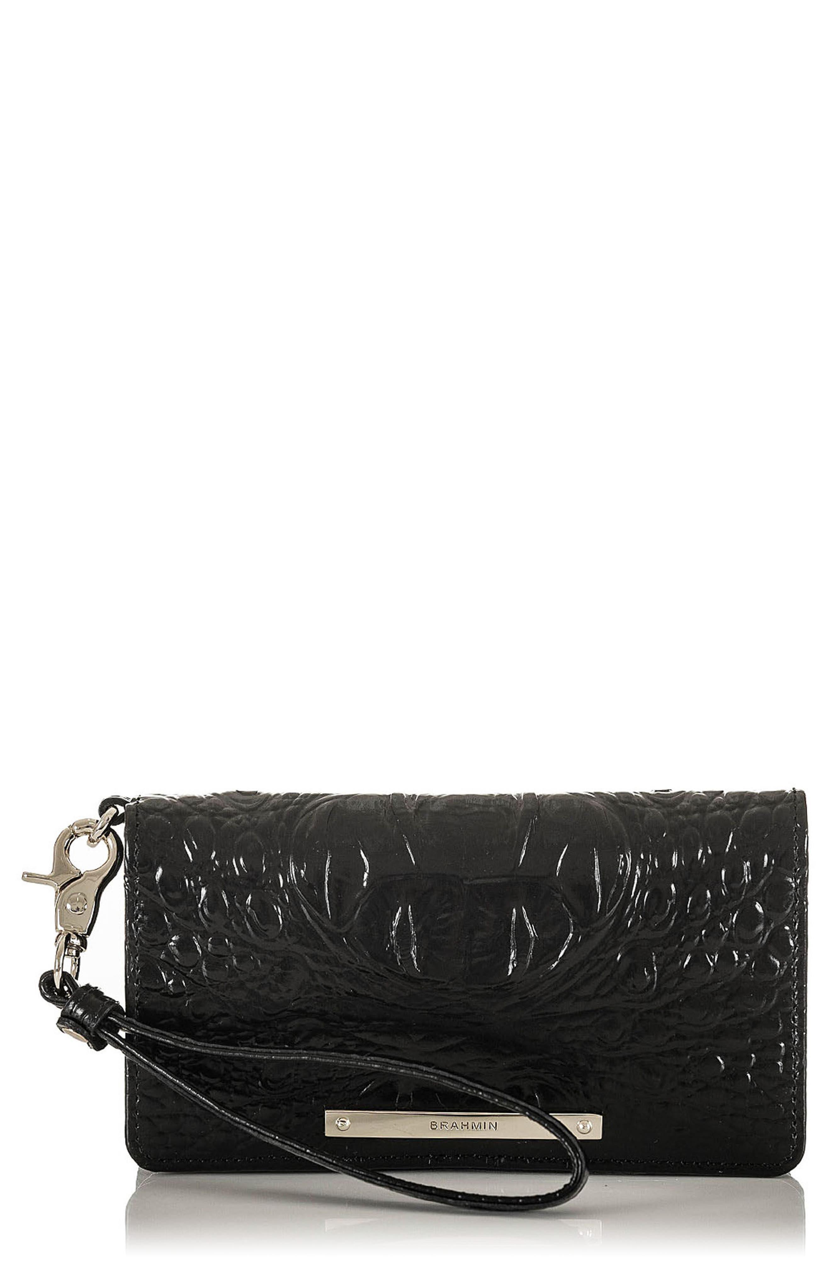 Debra Croc Embossed Leather Phone Wallet,                             Main thumbnail 1, color,                             001
