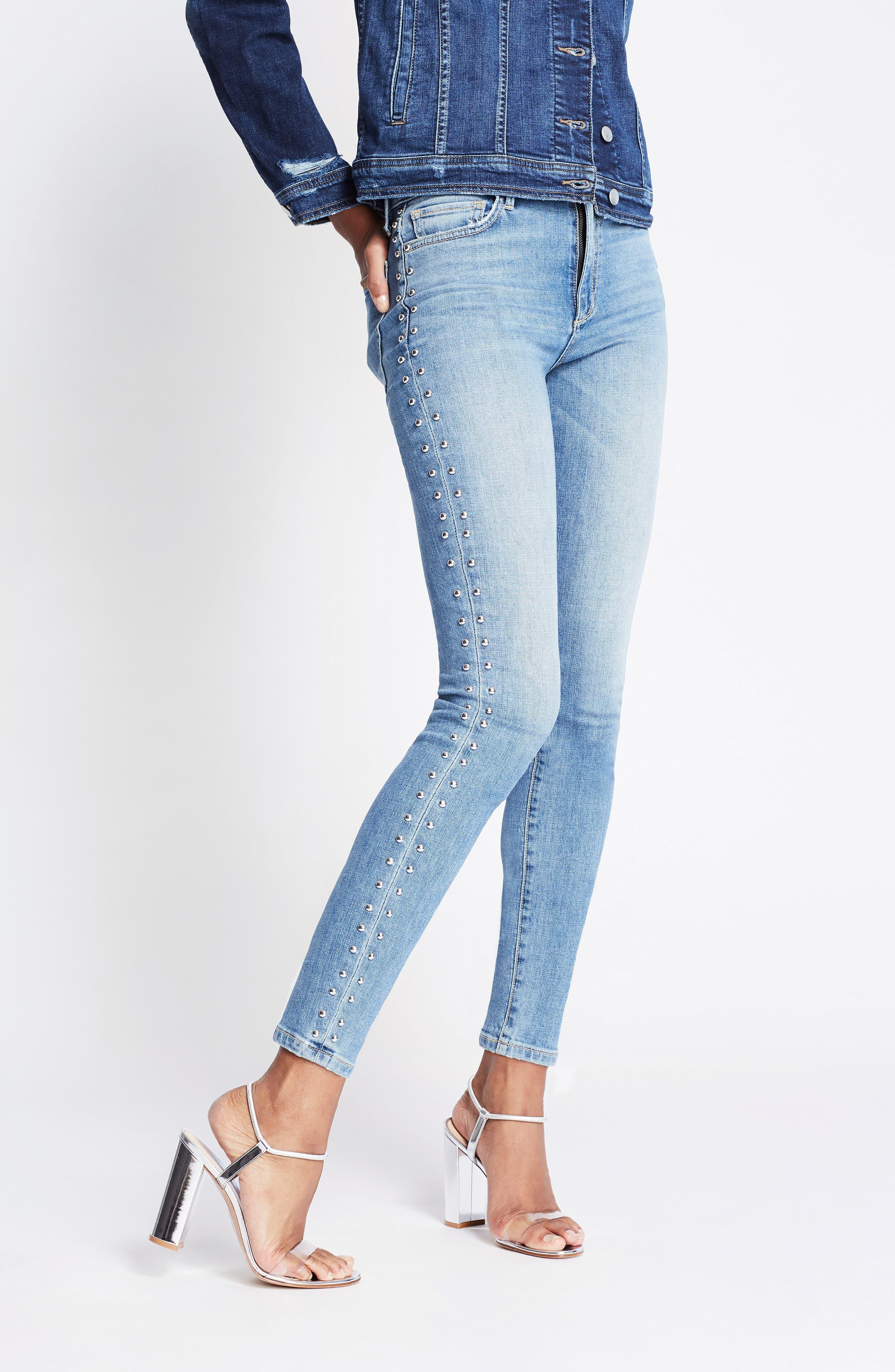 Charlie Stud Seam High Waist Ankle Skinny Jeans,                             Alternate thumbnail 4, color,                             ORA