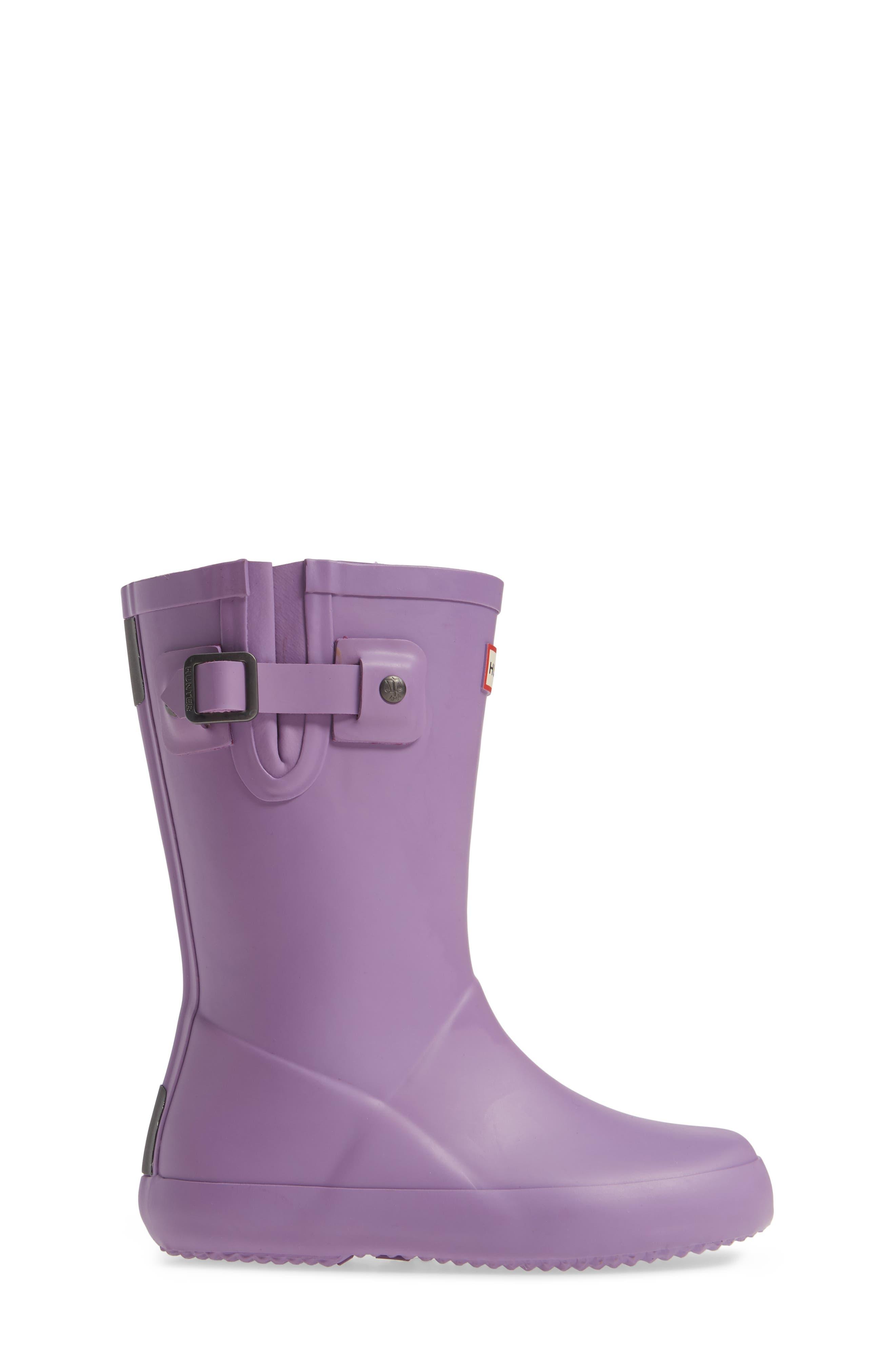 Buckle Strap Rain Boot,                             Alternate thumbnail 3, color,                             BRIGHT LAVENDER