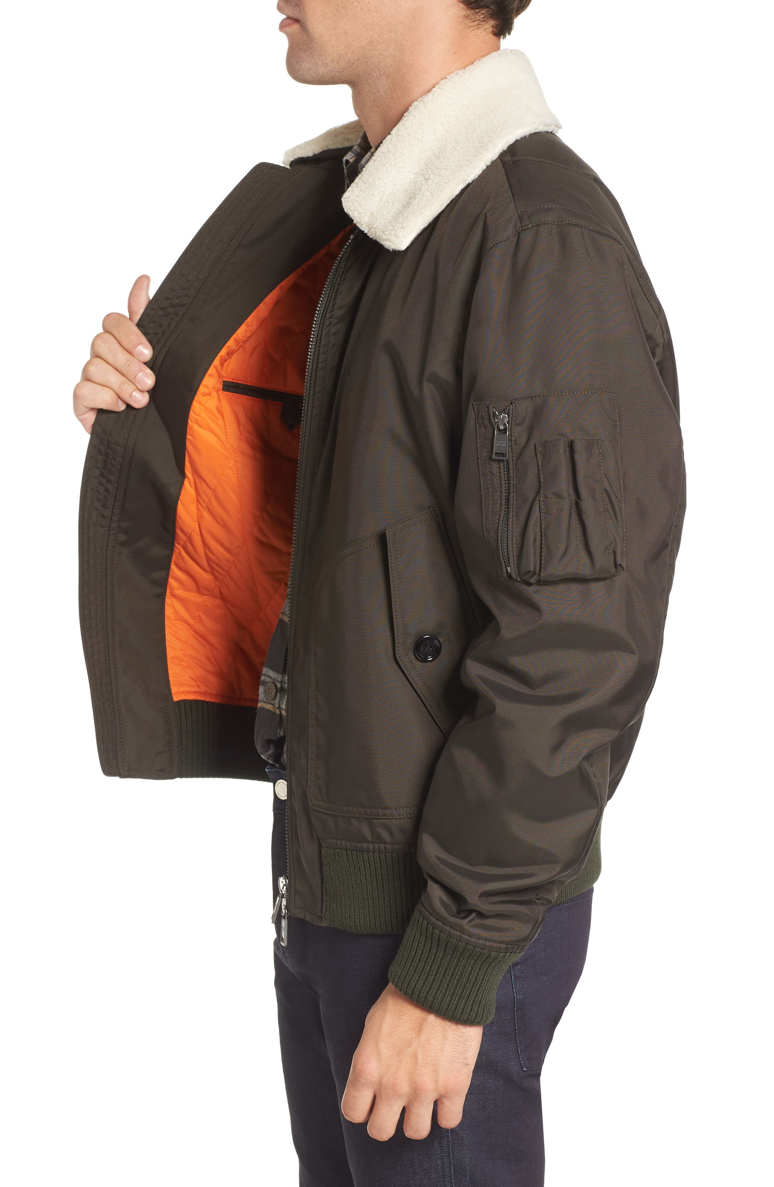Cobra Aviator Jacket with Faux Fur Collar,                             Alternate thumbnail 3, color,                             342