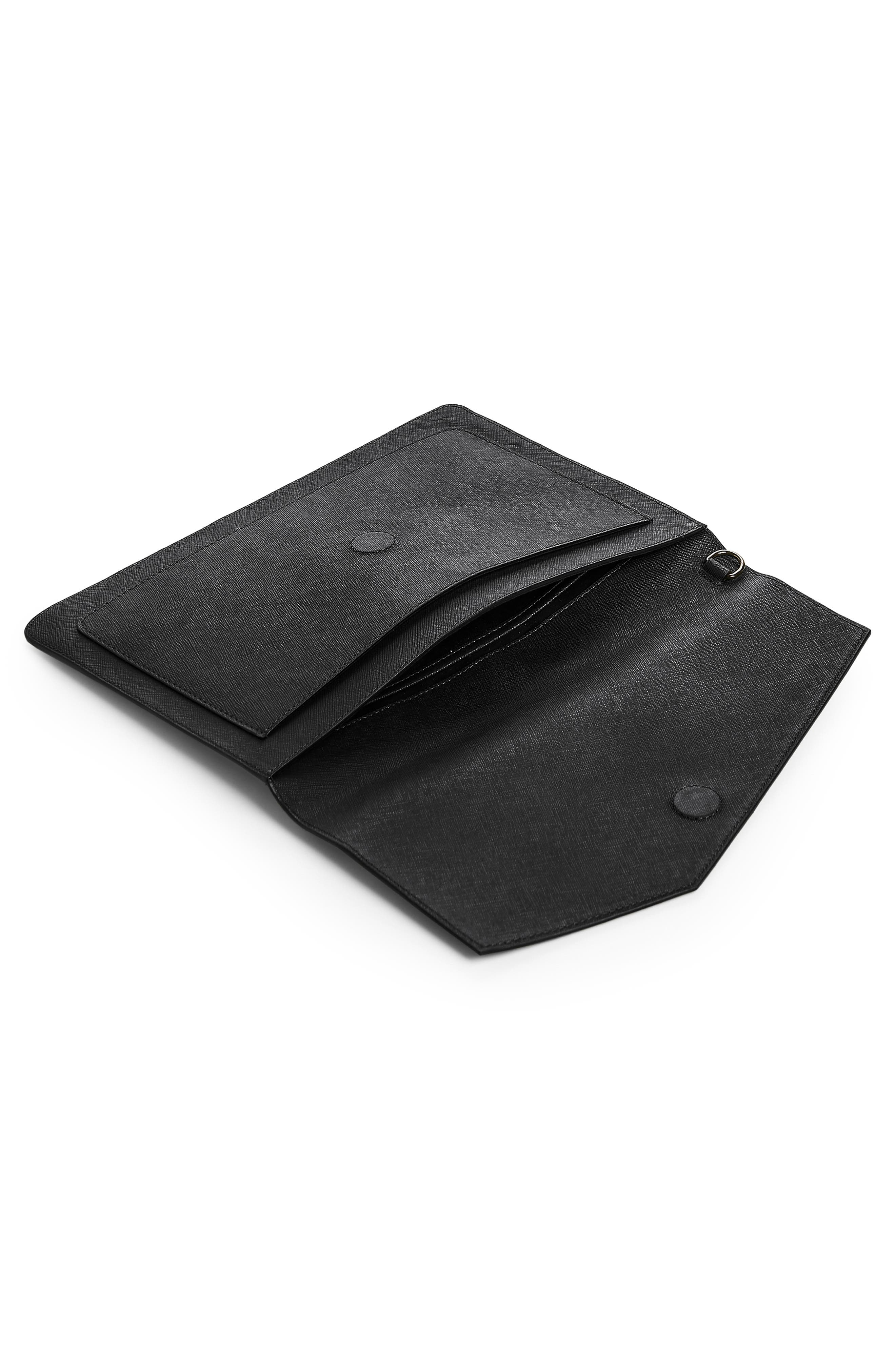 Cobble Hill Calfskin Leather Flap Clutch,                             Alternate thumbnail 3, color,                             BLACK