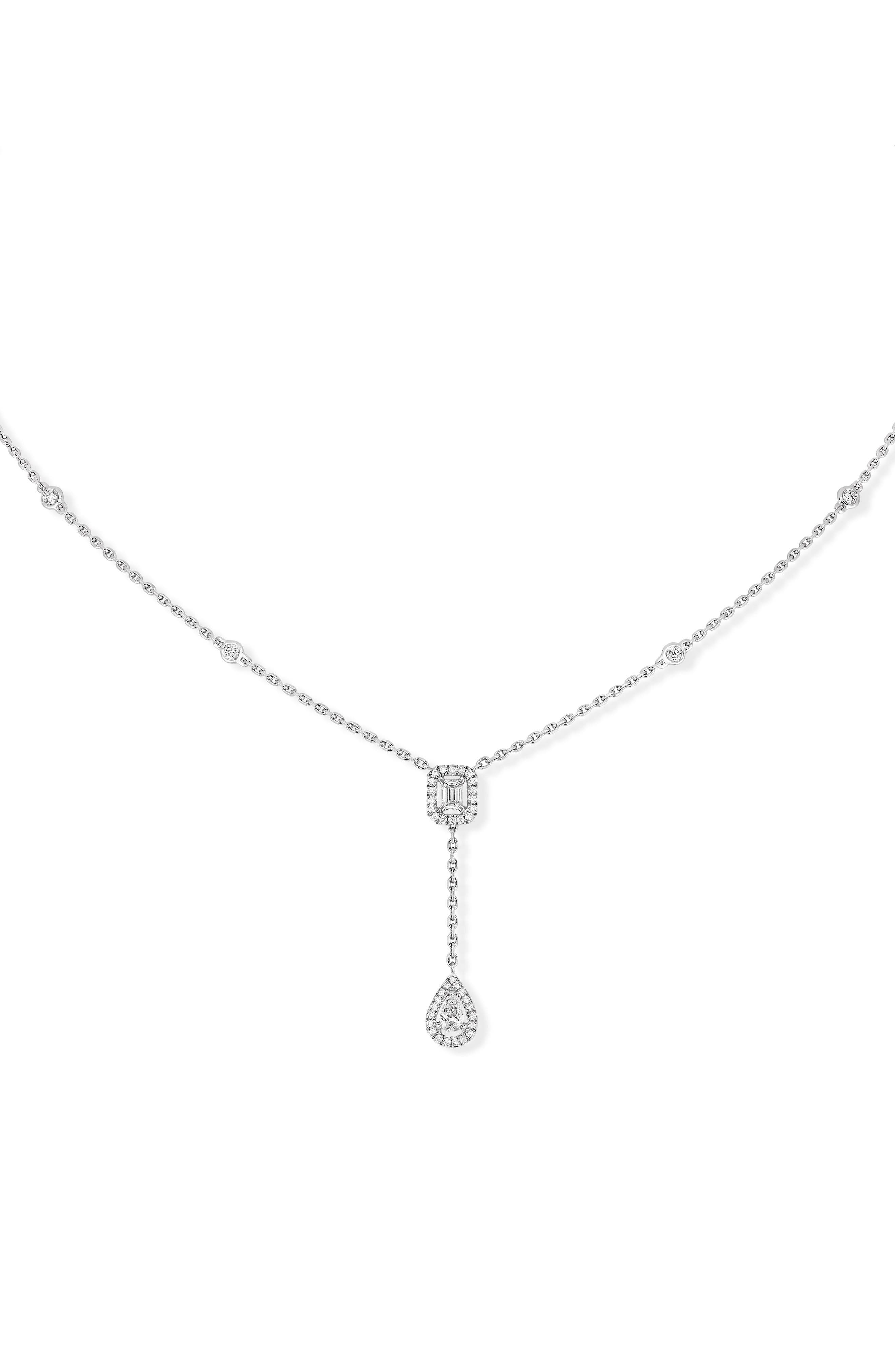 My Twin Diamond Necklace,                             Main thumbnail 1, color,                             WHITE GOLD