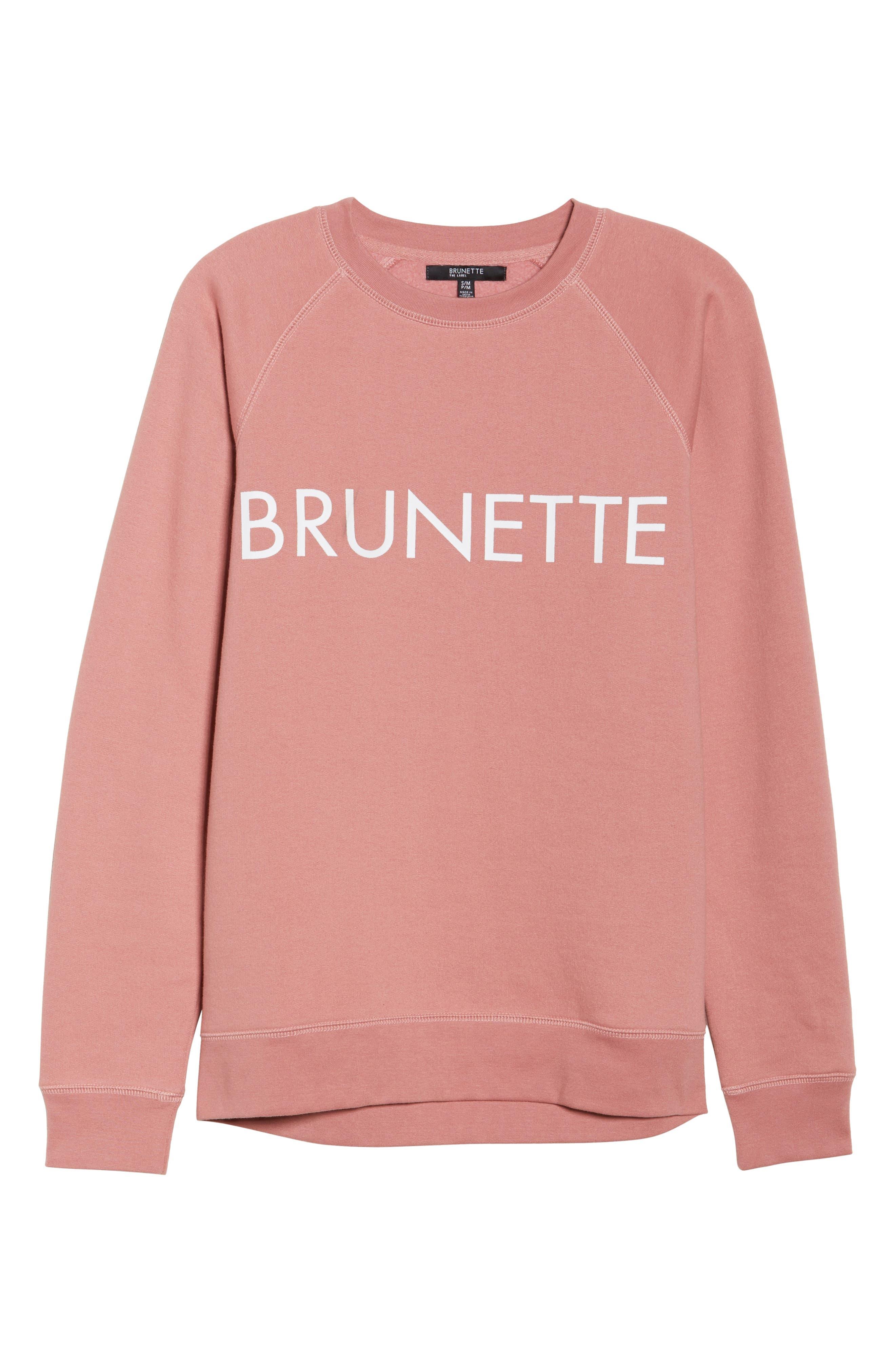 Brunette Crewneck Sweatshirt,                             Alternate thumbnail 6, color,