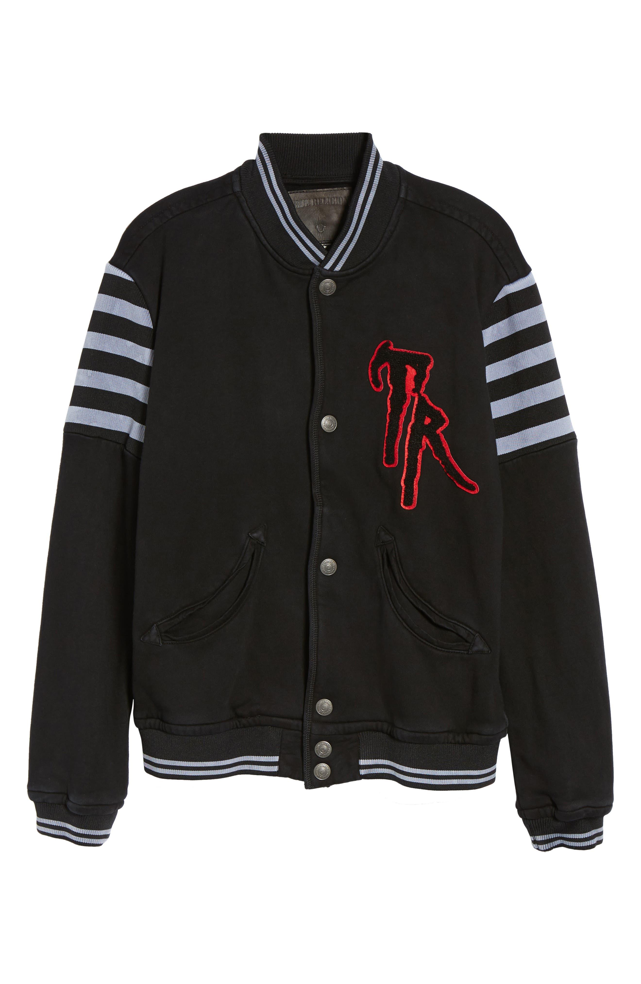Collegiate Knit Inset Jacket,                             Alternate thumbnail 5, color,