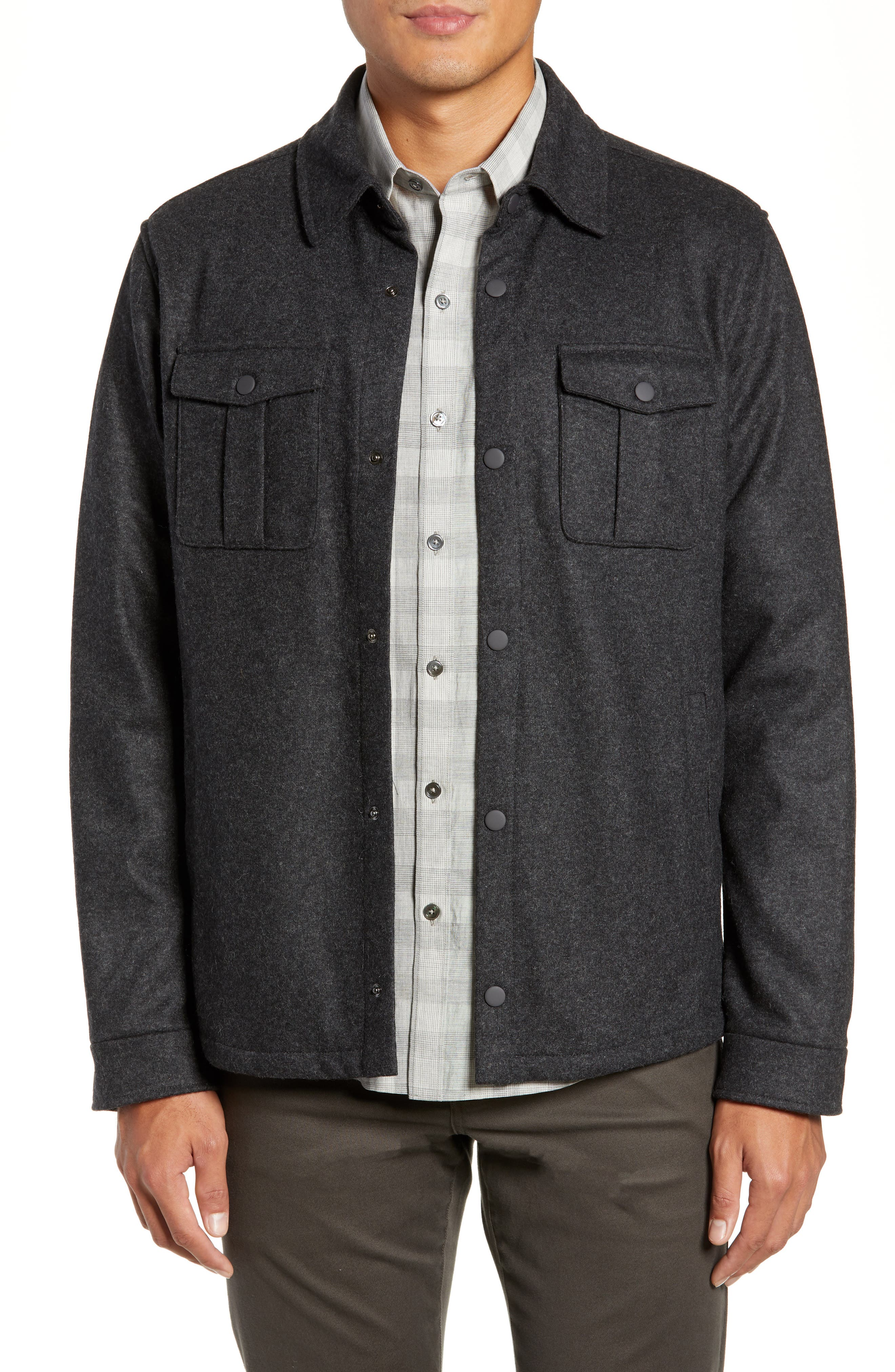 Seymour Regular Fit Wool Blend Shirt Jacket,                         Main,                         color, DARK GREY