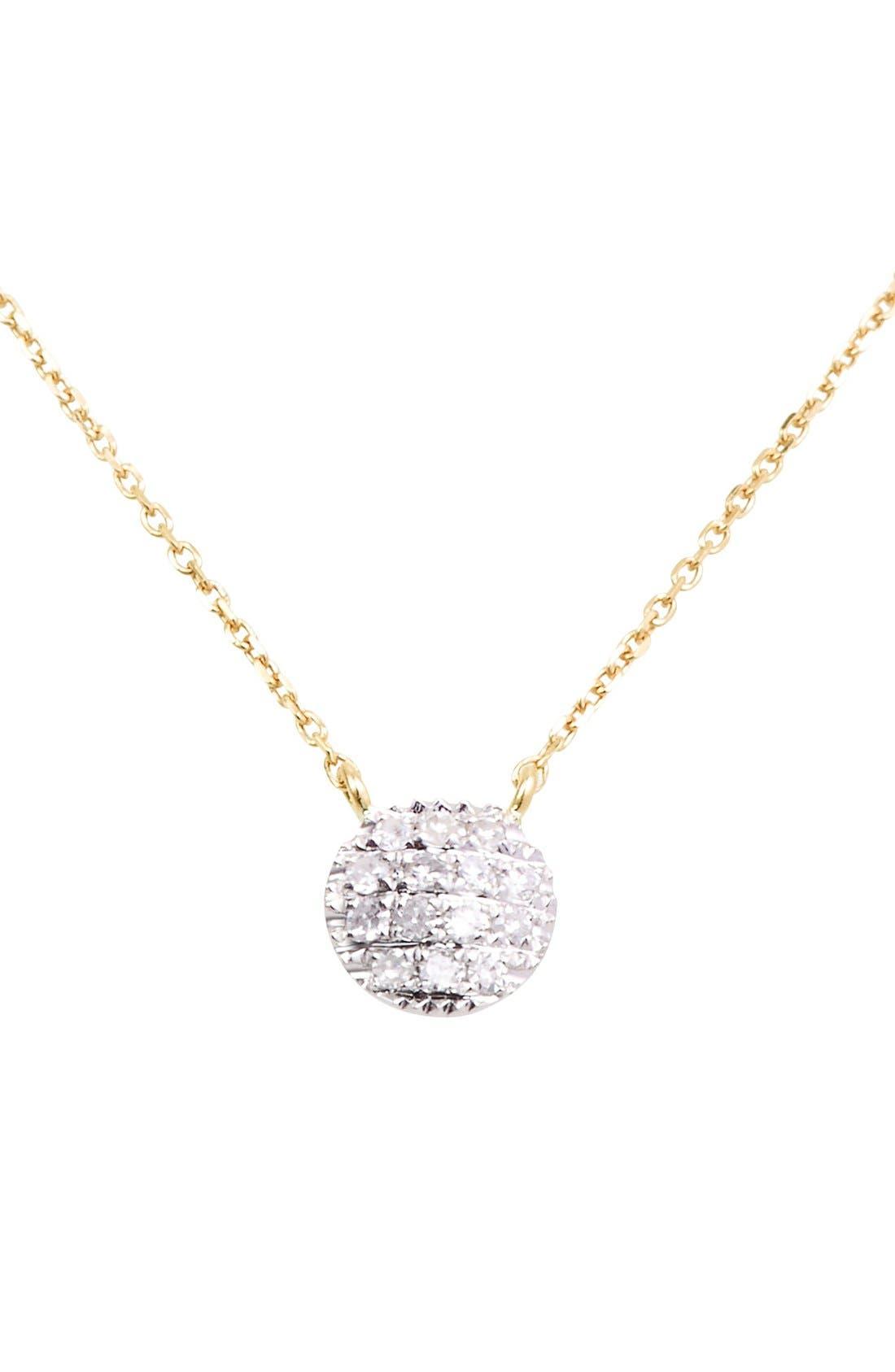 'Lauren Joy' Diamond Disc Pendant Necklace,                             Main thumbnail 1, color,                             YELLOW GOLD