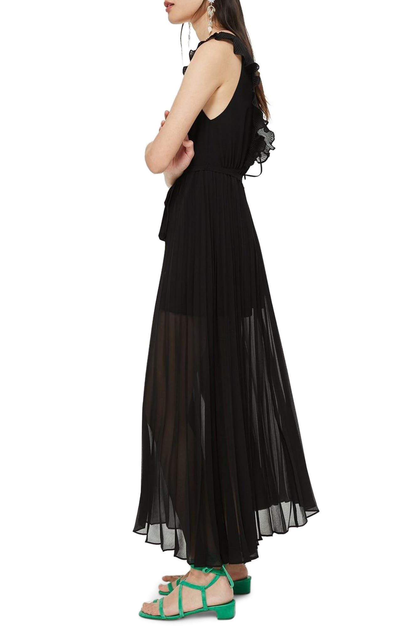 Pleated Plunge Chiffon Maxi Dress,                             Alternate thumbnail 3, color,                             001