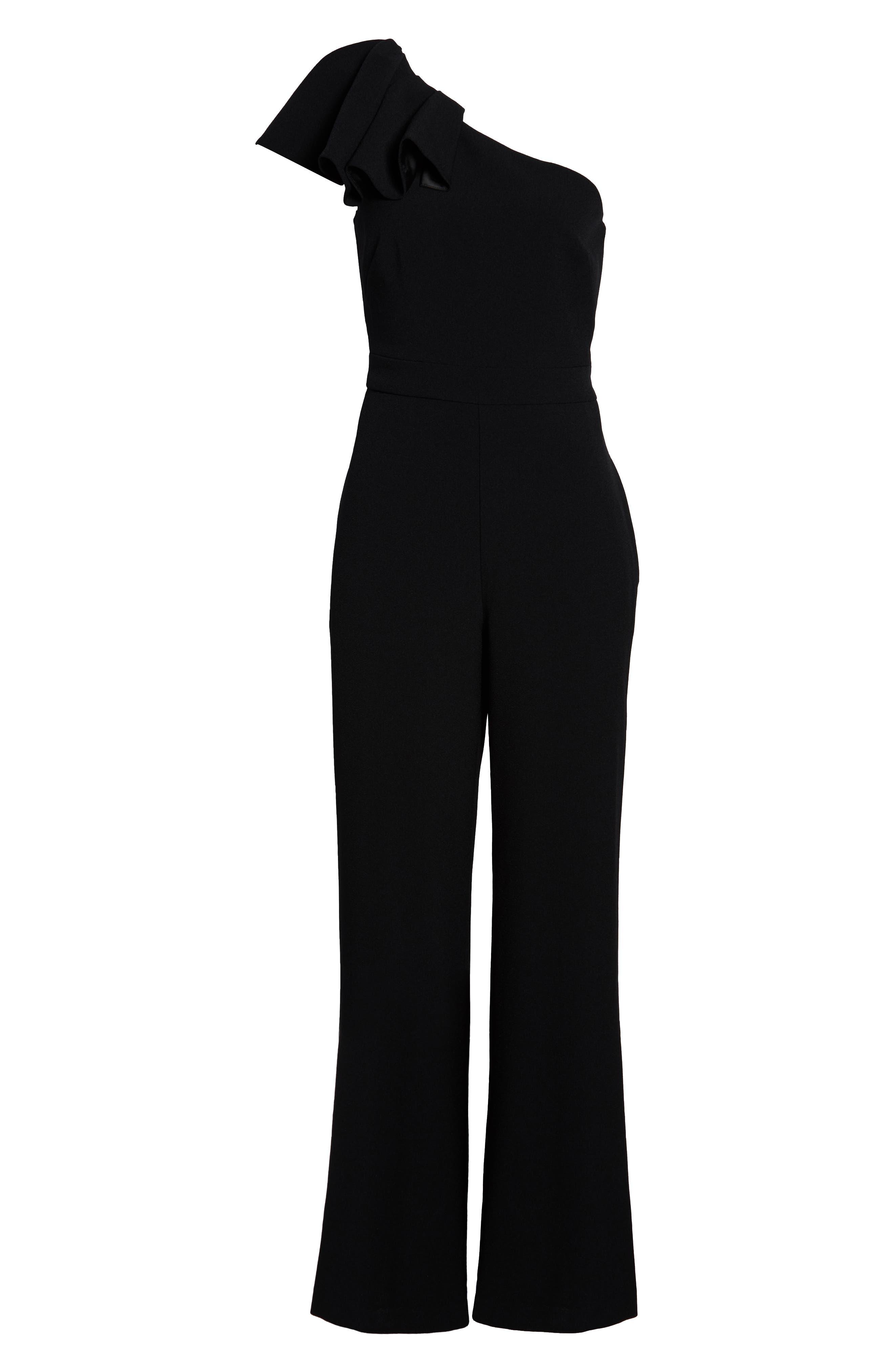 One-Shoulder Ruffle Crepe Jumpsuit,                             Alternate thumbnail 7, color,                             BLACK