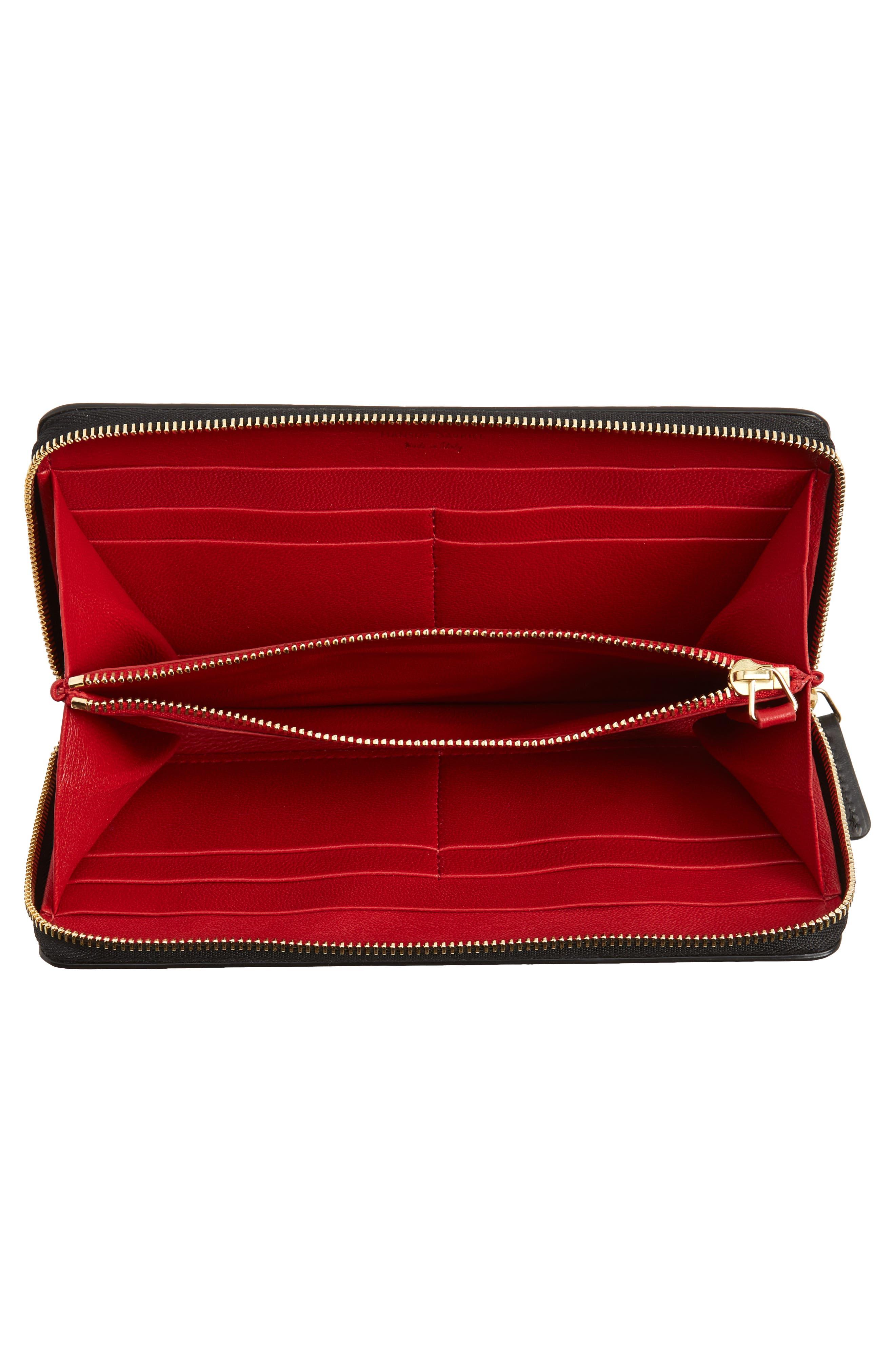 Continental Zip Leather Wallet,                             Alternate thumbnail 4, color,                             BLACK/ FLAMMA