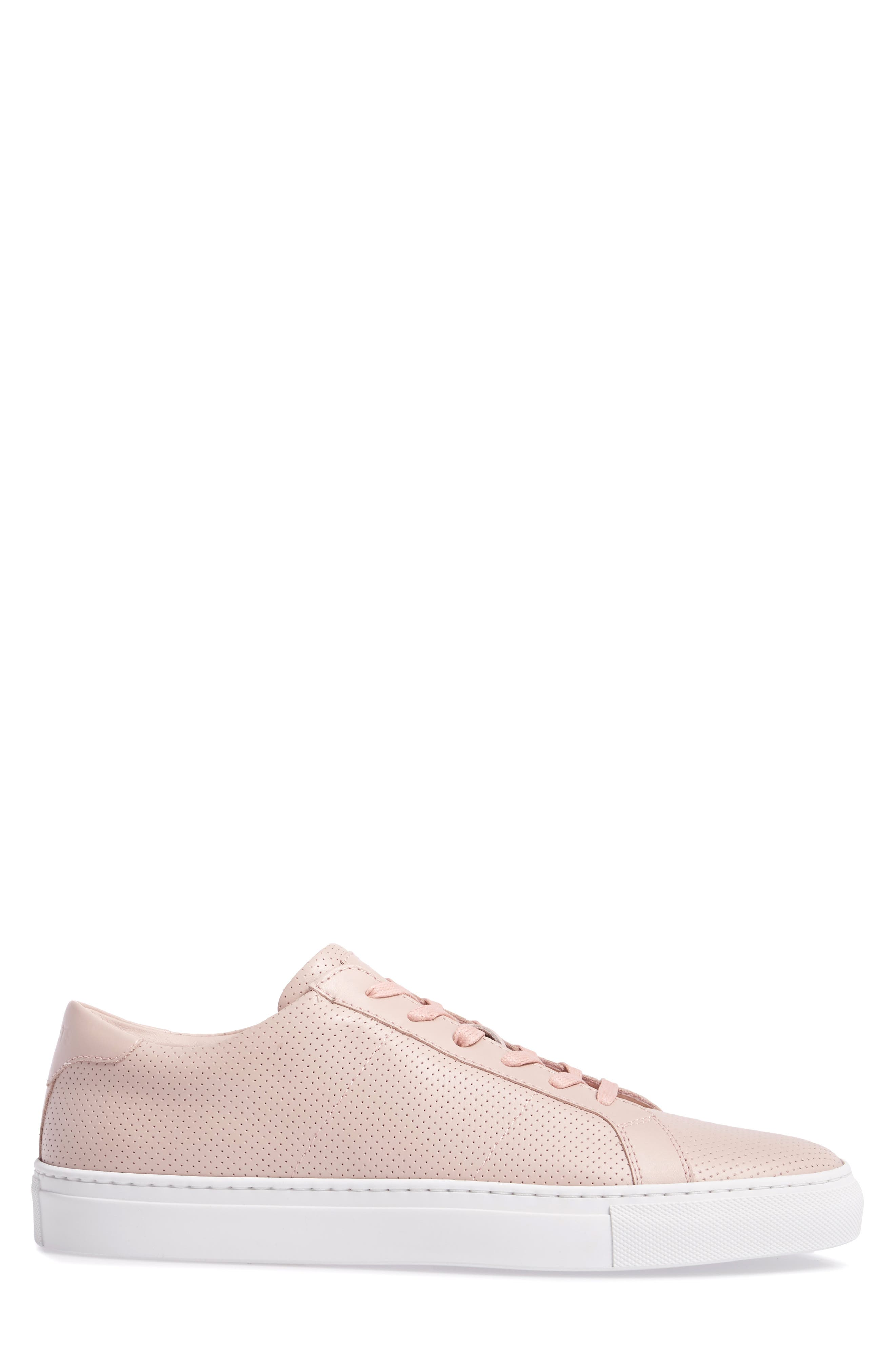Royale Perforated Low Top Sneaker,                             Alternate thumbnail 3, color,                             BLUSH PERFORATED LEATHER