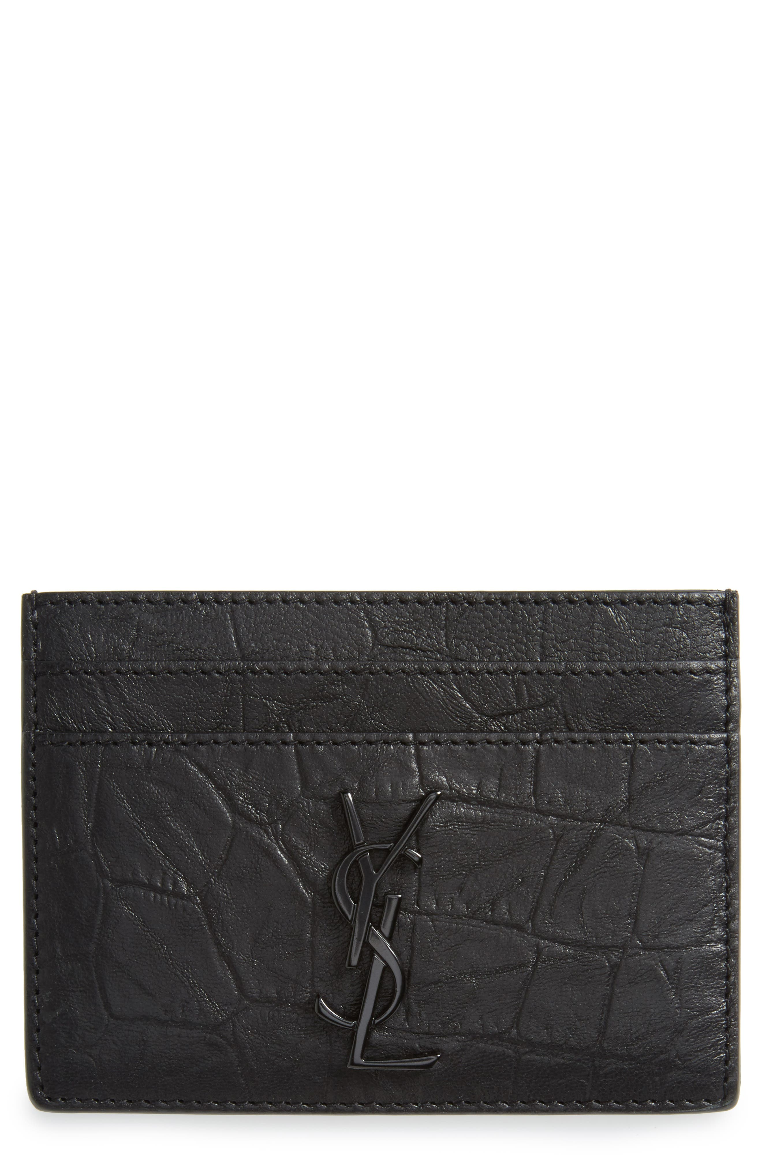 Croc Embossed Calfskin Leather Card Case,                             Main thumbnail 1, color,                             001
