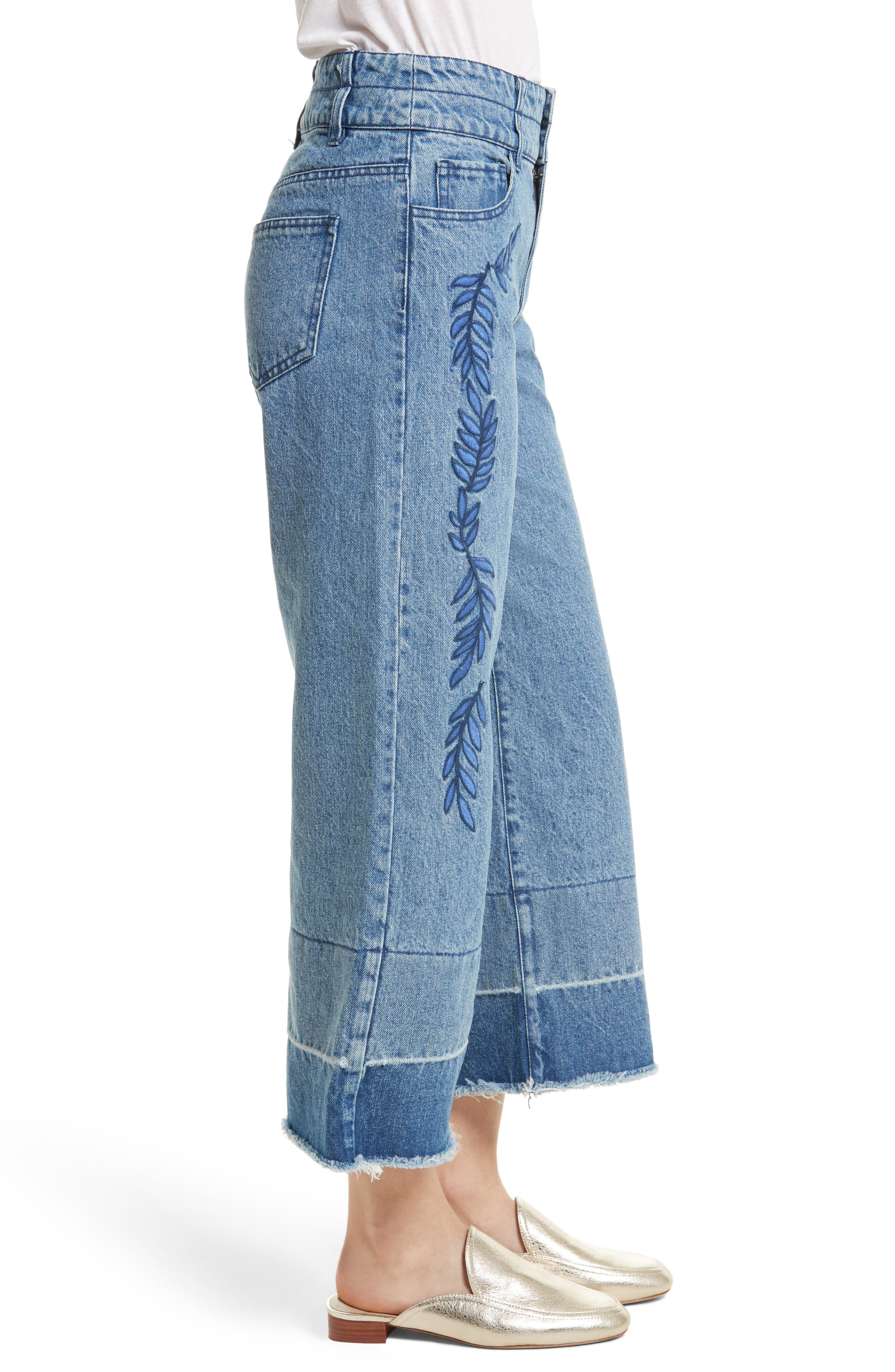 Starlight High Waist Crop Wide Leg Jeans,                             Alternate thumbnail 3, color,                             400