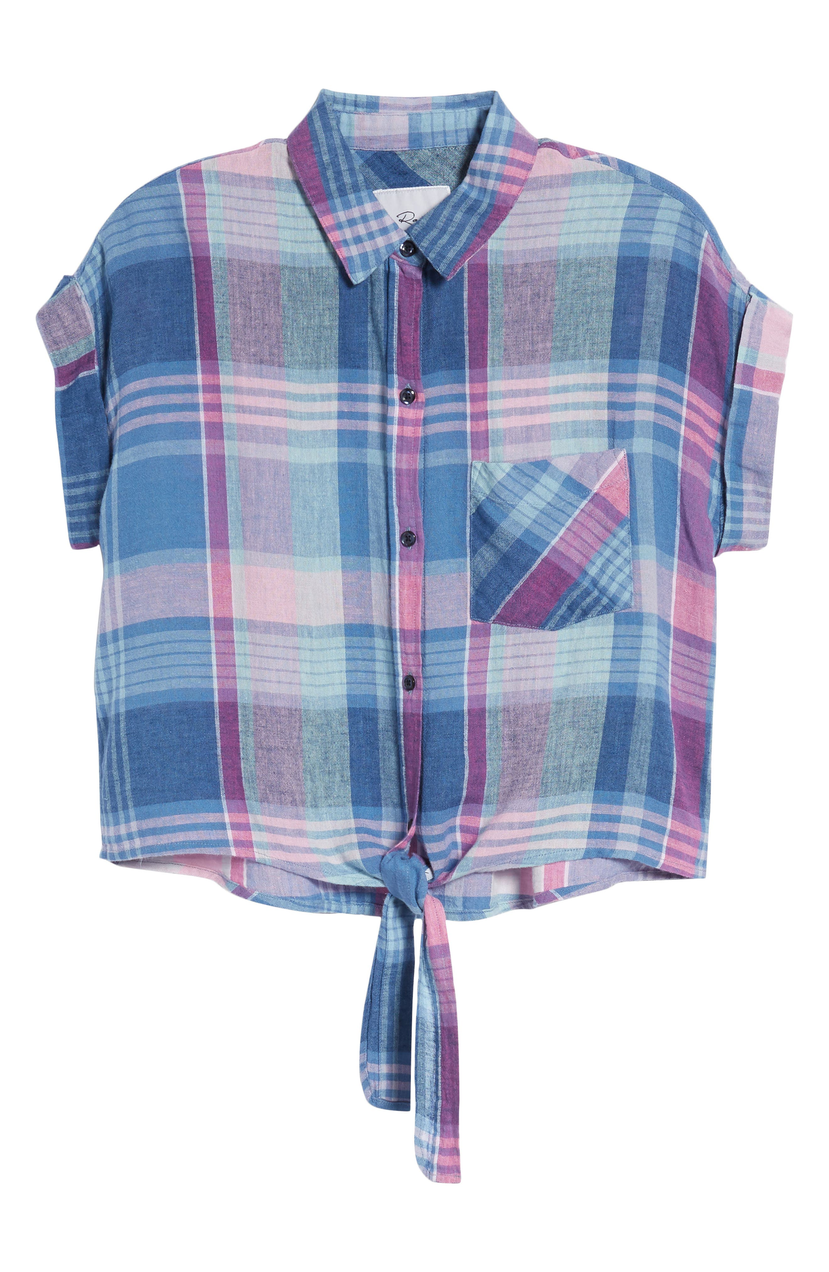 Amelie Tie Front Shirt,                             Alternate thumbnail 7, color,                             LAGUNA COAST AZALEA