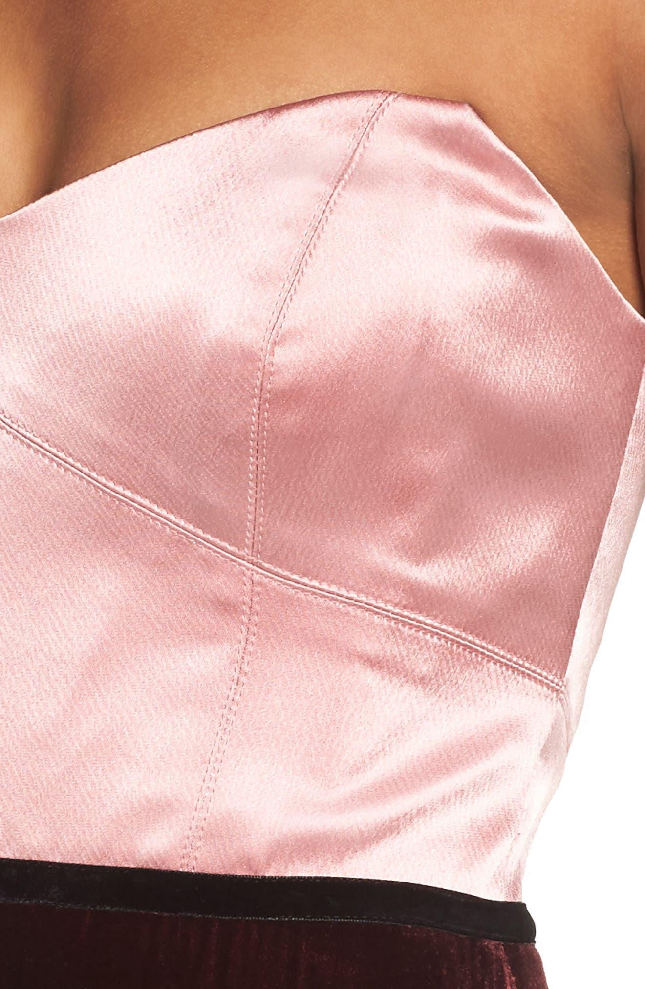 Strapless Satin & Velvet Gown,                             Alternate thumbnail 4, color,                             684